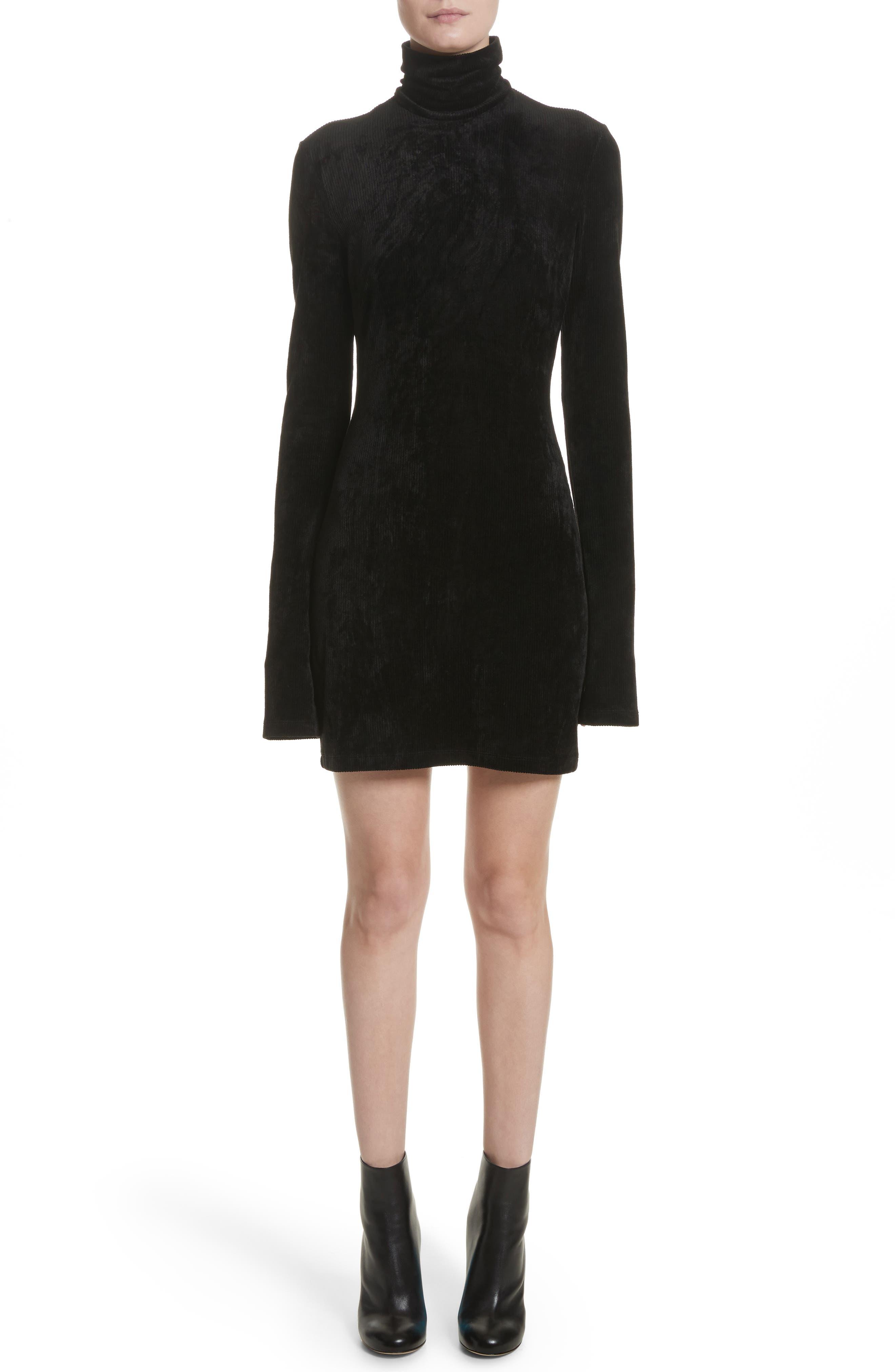 Abigail Funnel Neck Dress,                             Main thumbnail 1, color,                             Black