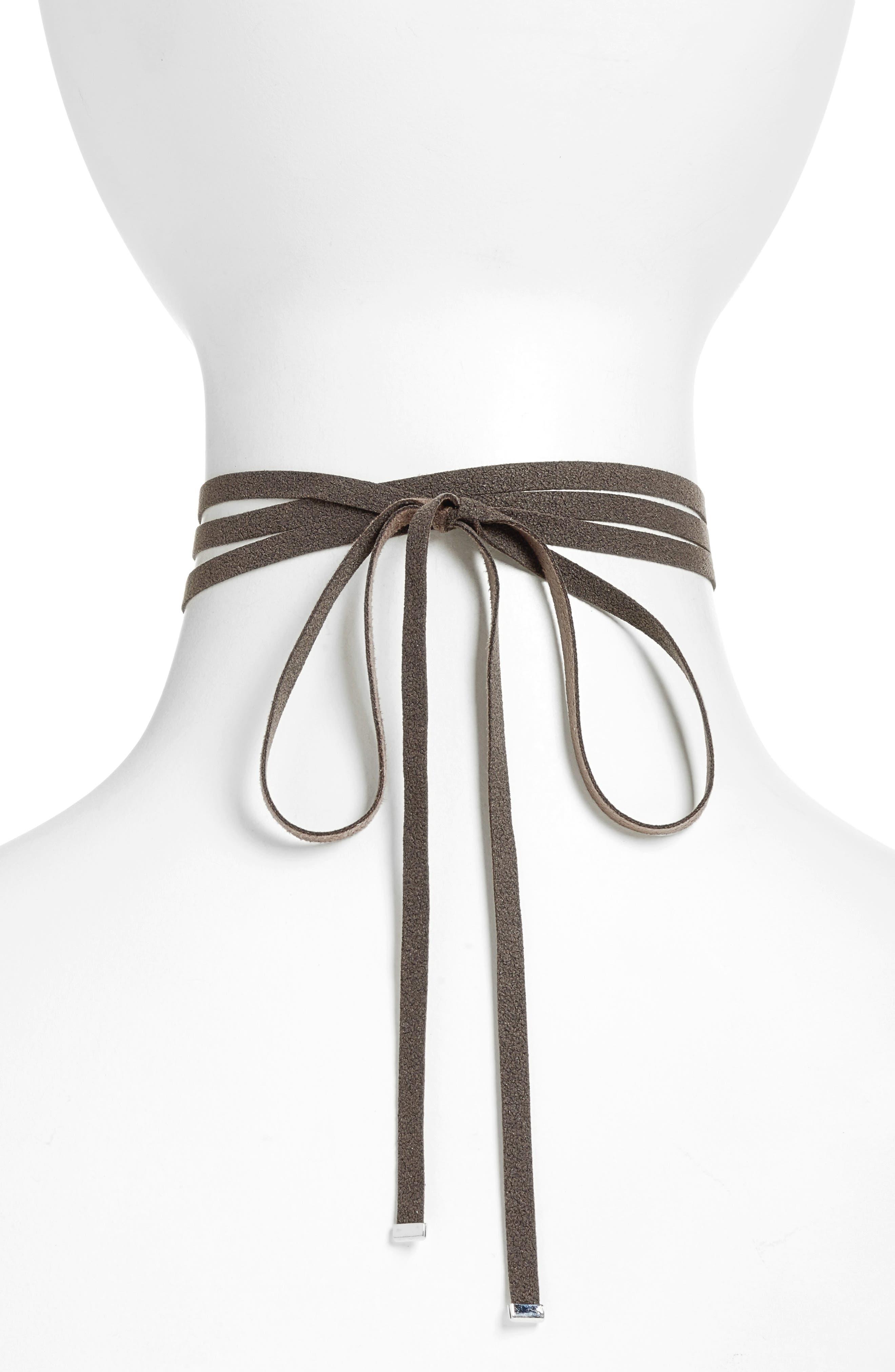 Wrap Choker Necklace,                             Alternate thumbnail 2, color,                             Black