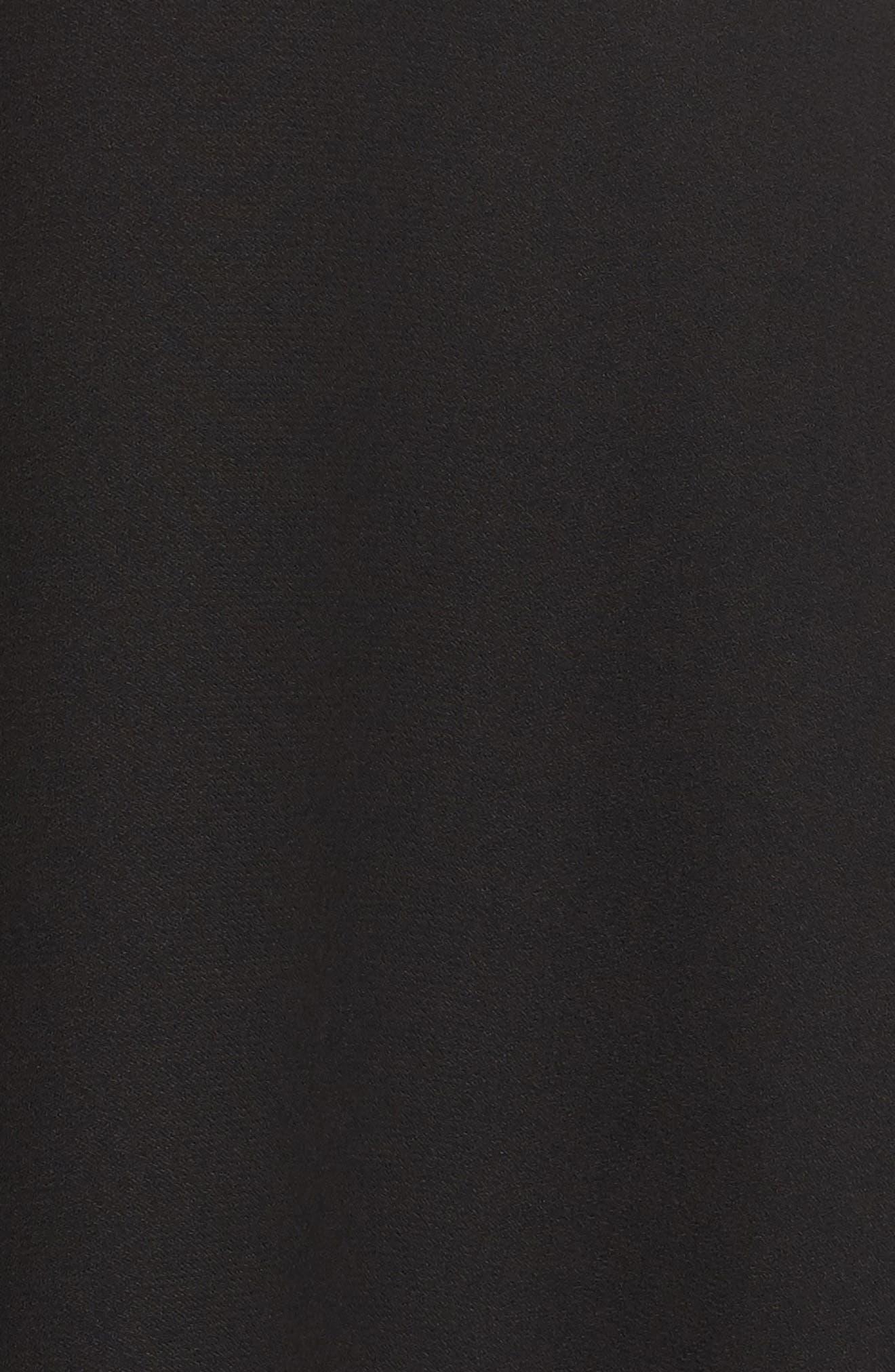 Crepe Fit & Flare Dress,                             Alternate thumbnail 5, color,                             Black