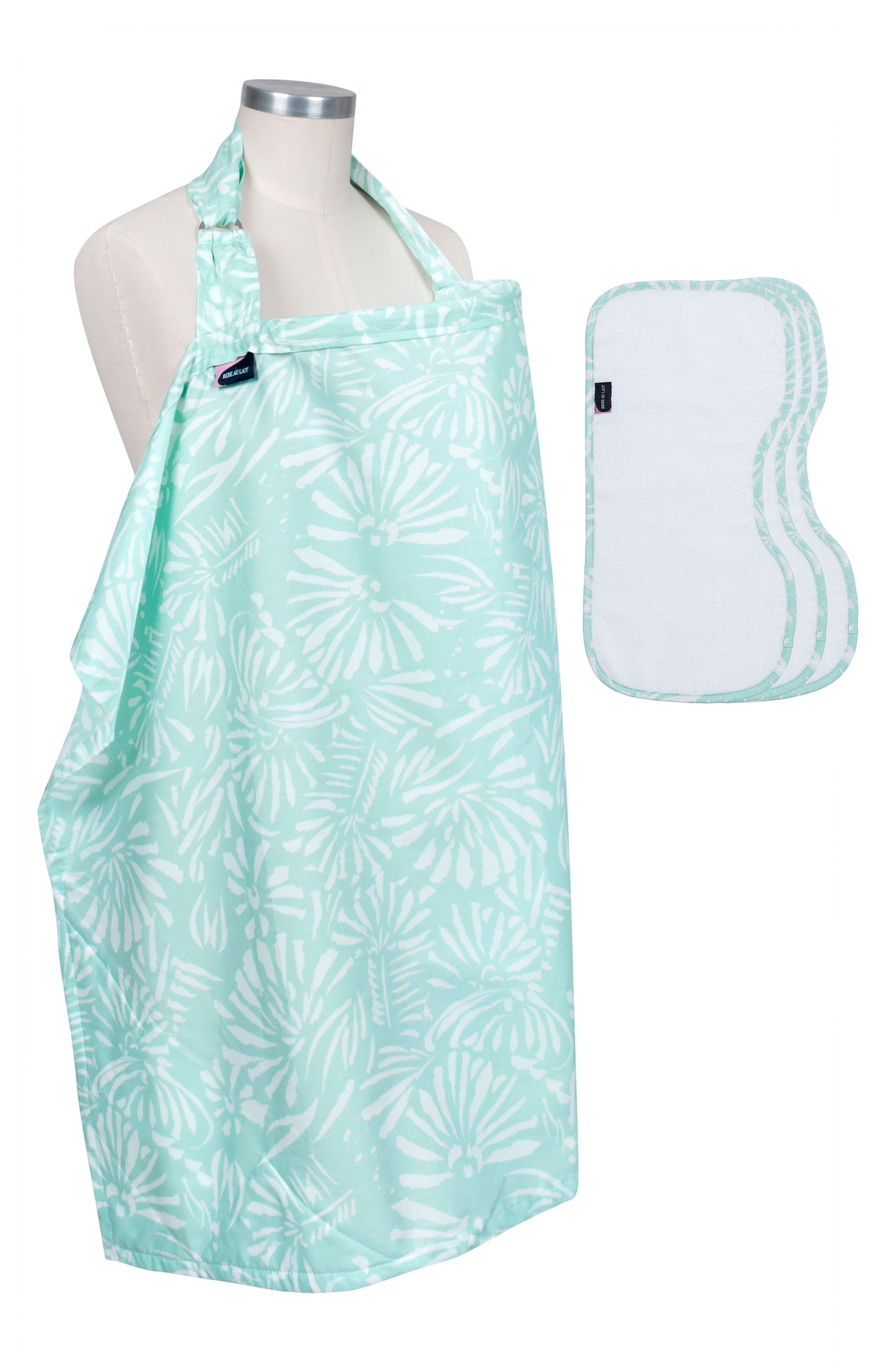 Nursing Cover & Burp Cloth Set,                         Main,                         color, Acapulco