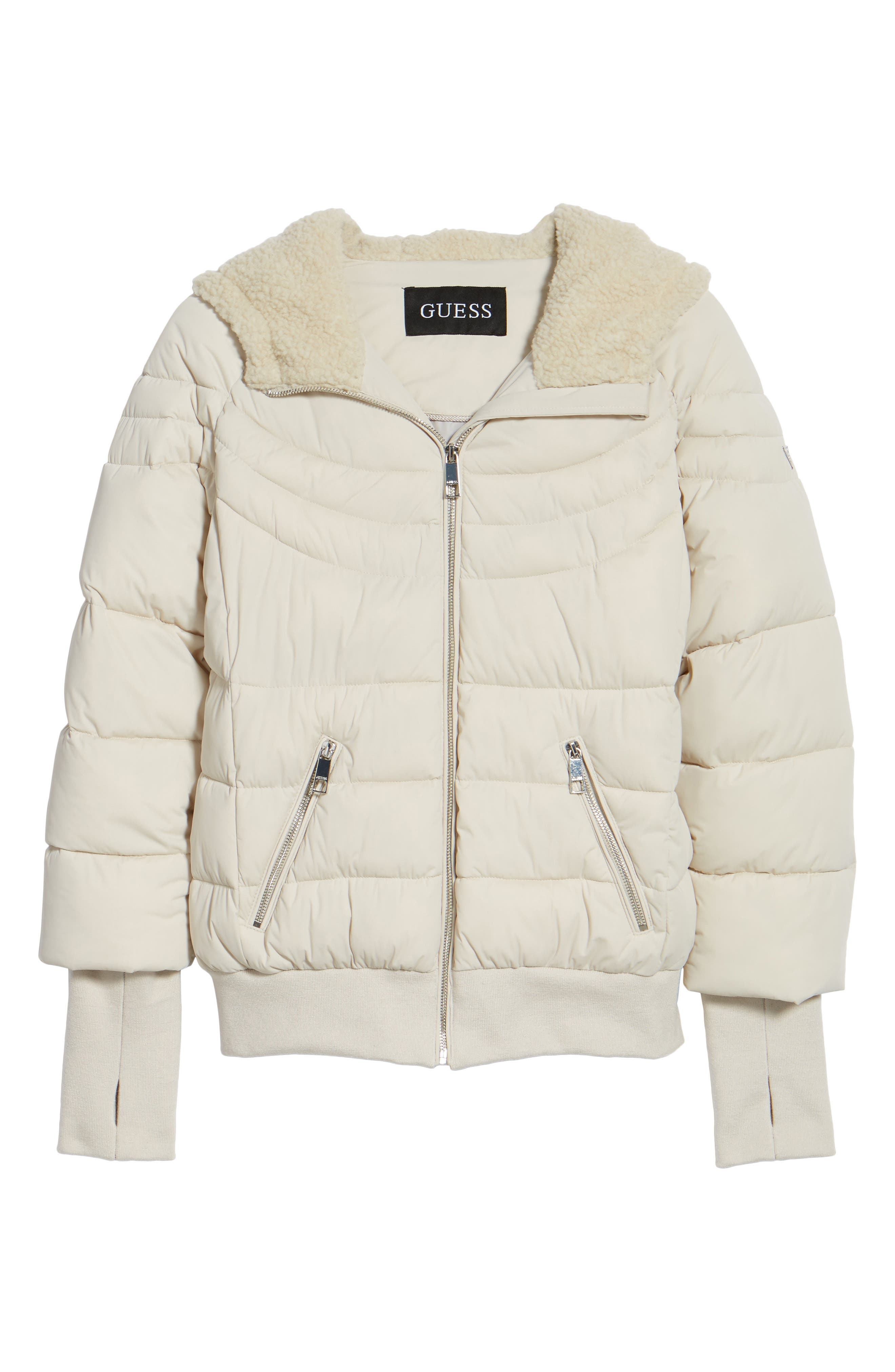 Alternate Image 6  - GUESS Oversize Hooded Puffer Jacket with Knit & Faux Shearling Trim