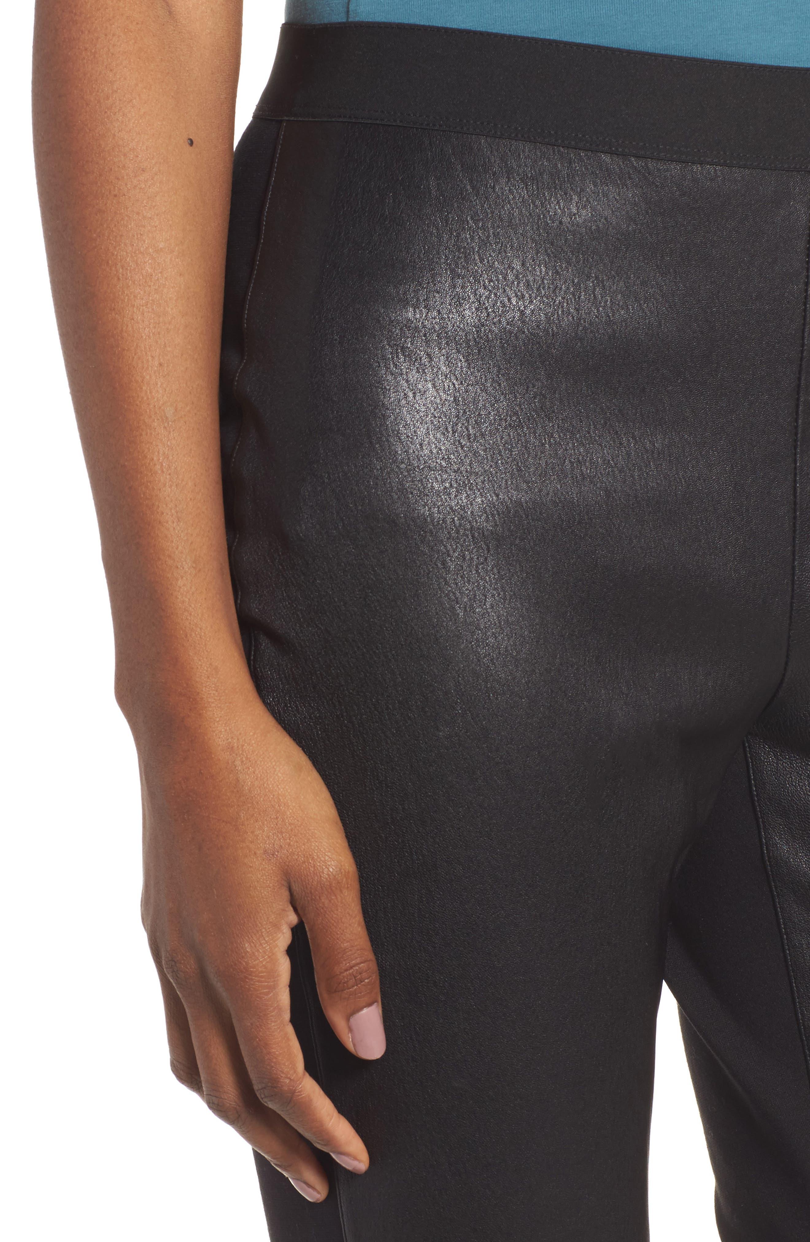 Leather Blocked Leggings,                             Alternate thumbnail 4, color,                             Black