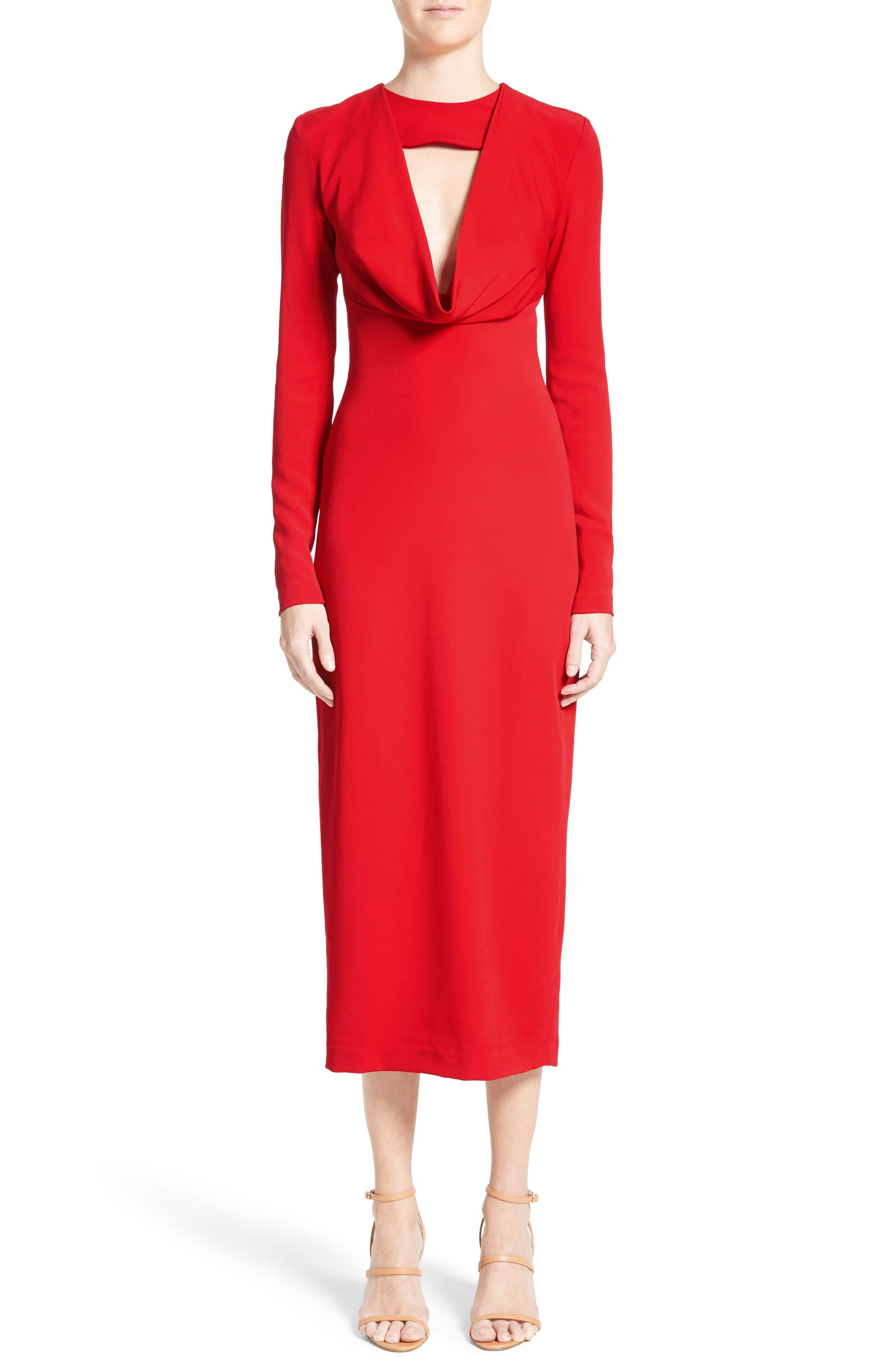 Cowl Neck Pencil Dress,                         Main,                         color, Poppy