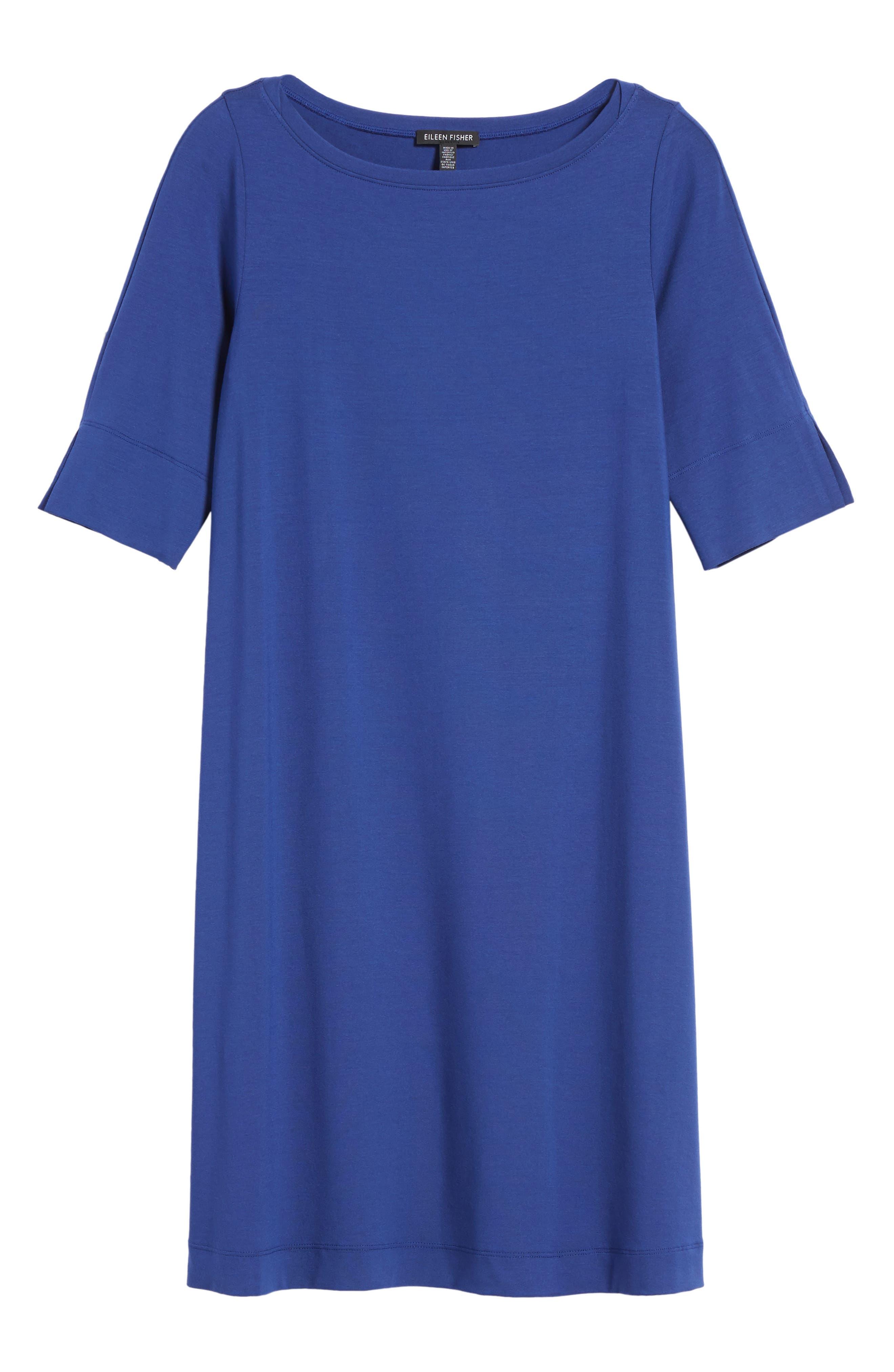Jersey Shift Dress,                             Alternate thumbnail 7, color,                             Persian Blue