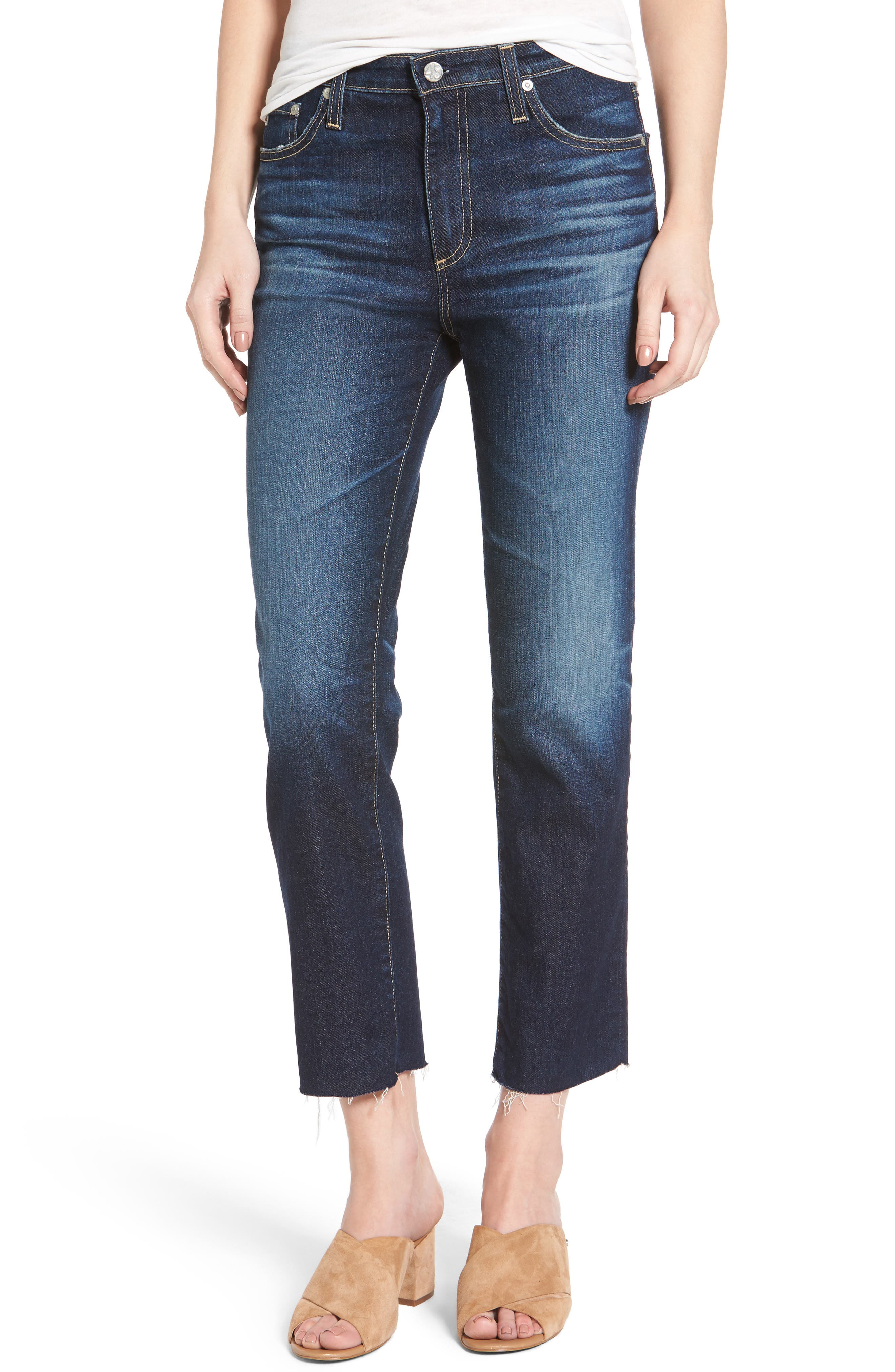 Main Image - AG The Isabelle Crop Straight Leg Jeans (9 Years Amendment)