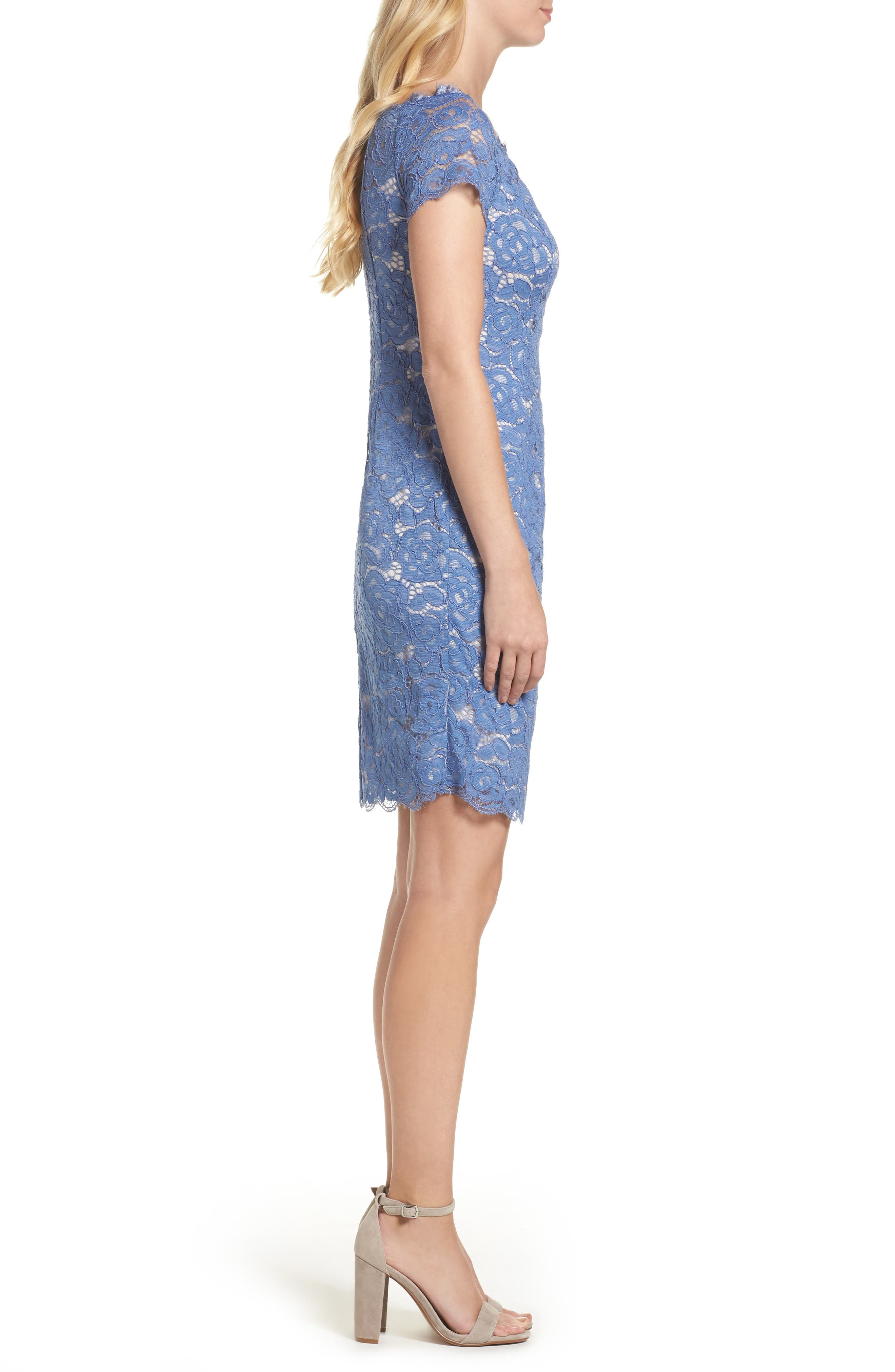 Alternate Image 3  - Adrianna Papell Off the Shoulder Lace Sheath Dress (Regular & Petite)