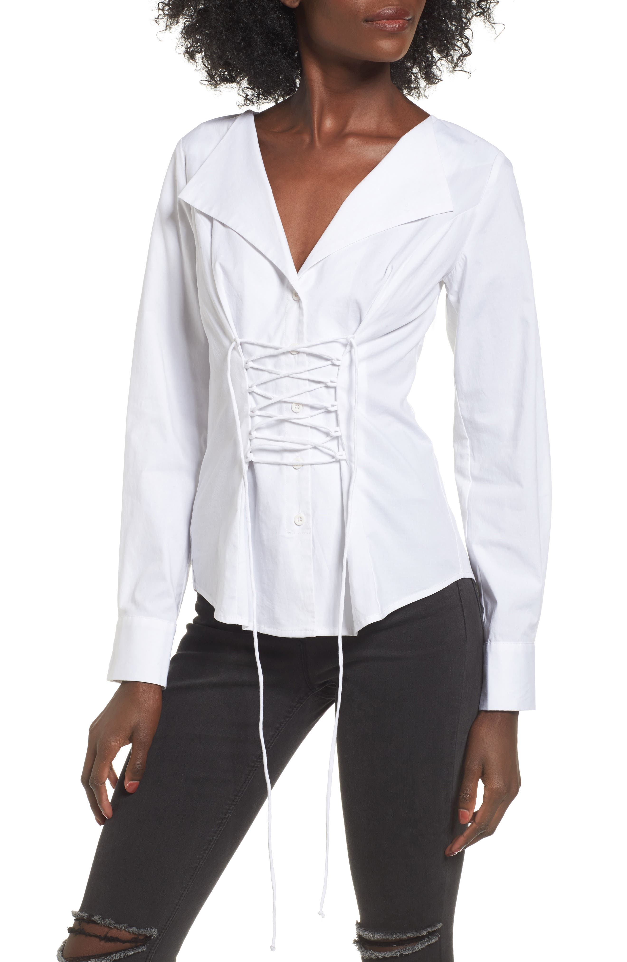 Alternate Image 1 Selected - WAYF Molly Corset Blouse