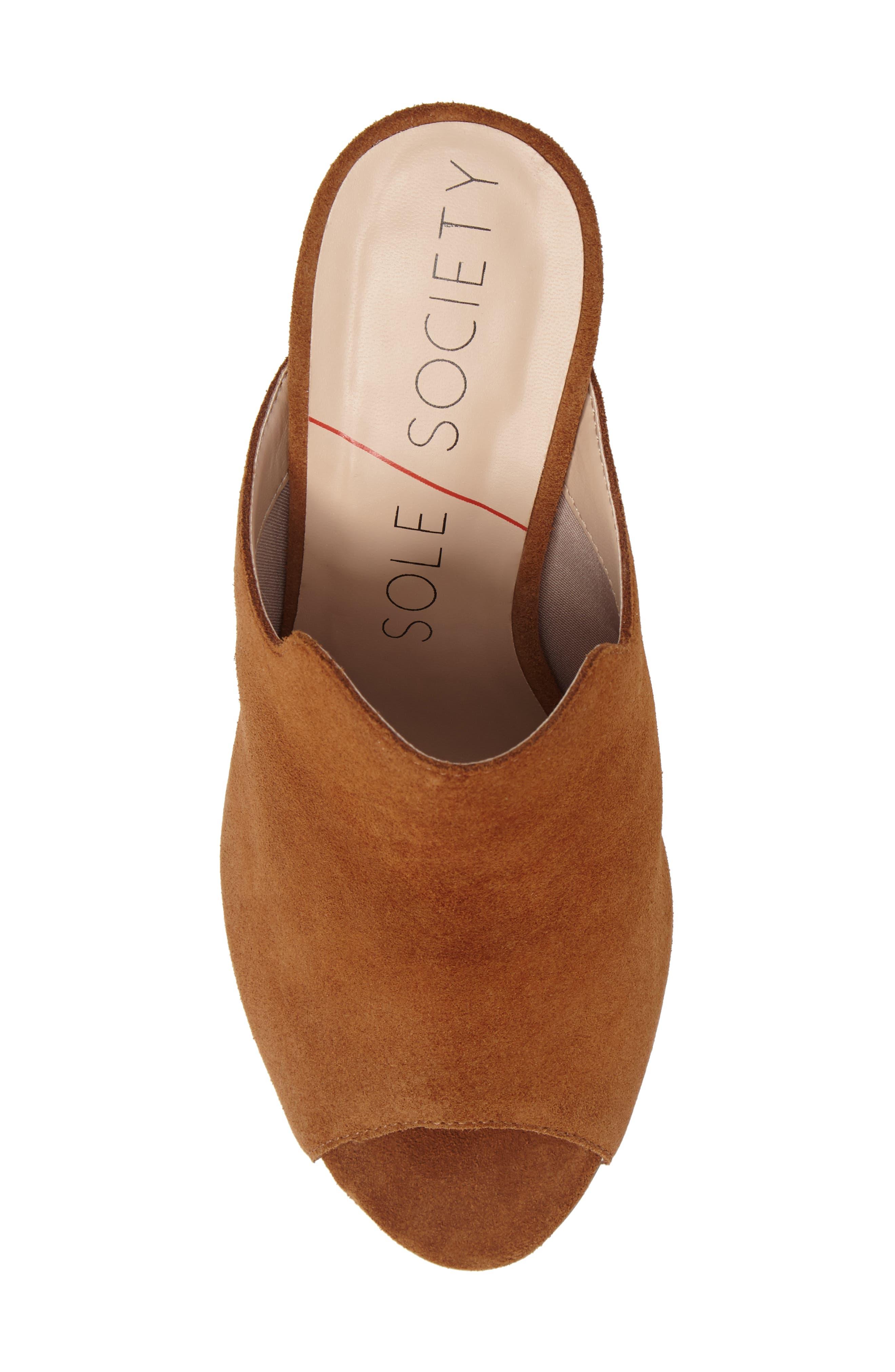 Drew Open-Toe Wedge Mule,                             Alternate thumbnail 5, color,                             Cognac Suede