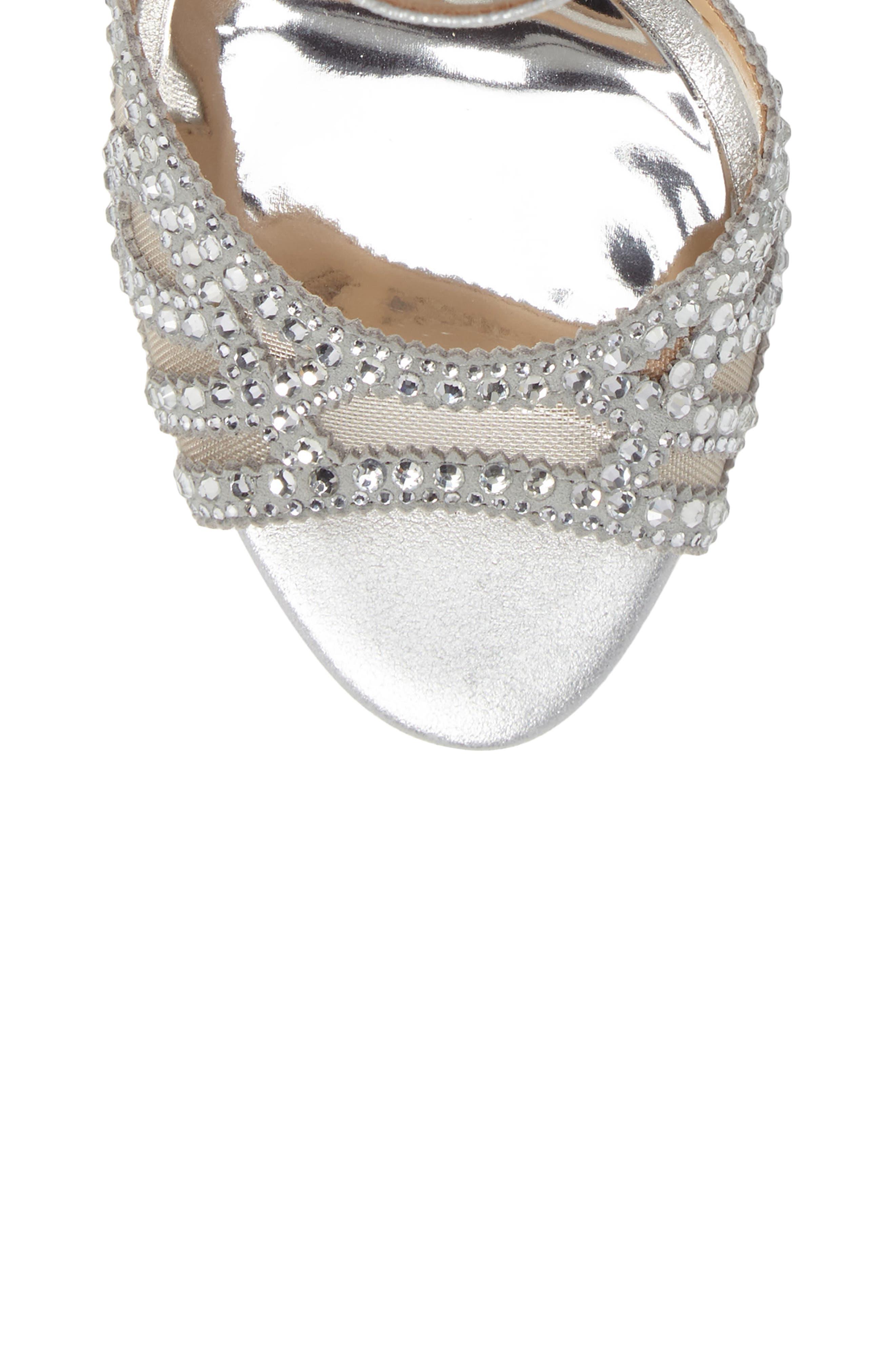 Embellished Mesh Sandal,                             Alternate thumbnail 5, color,                             Silver Metallic Suede