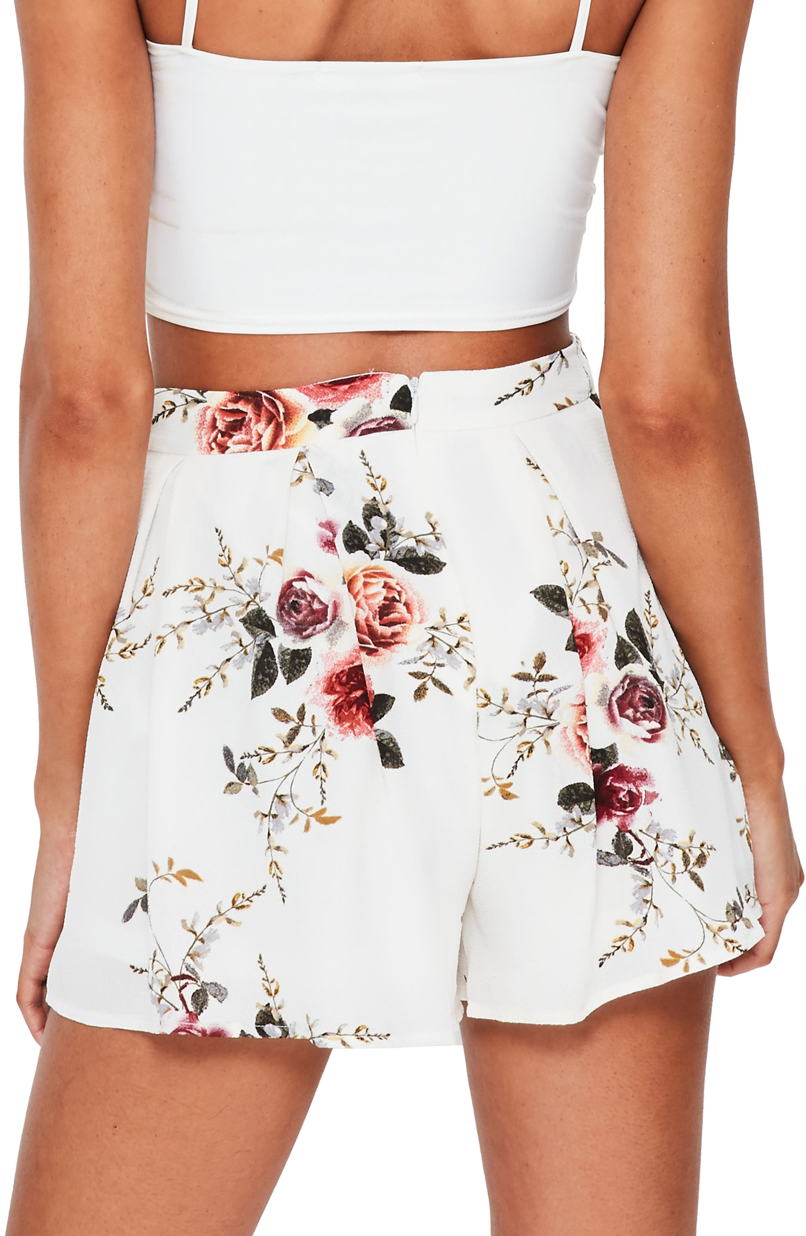 Alternate Image 2  - Missguided Floral Print High Waist Shorts