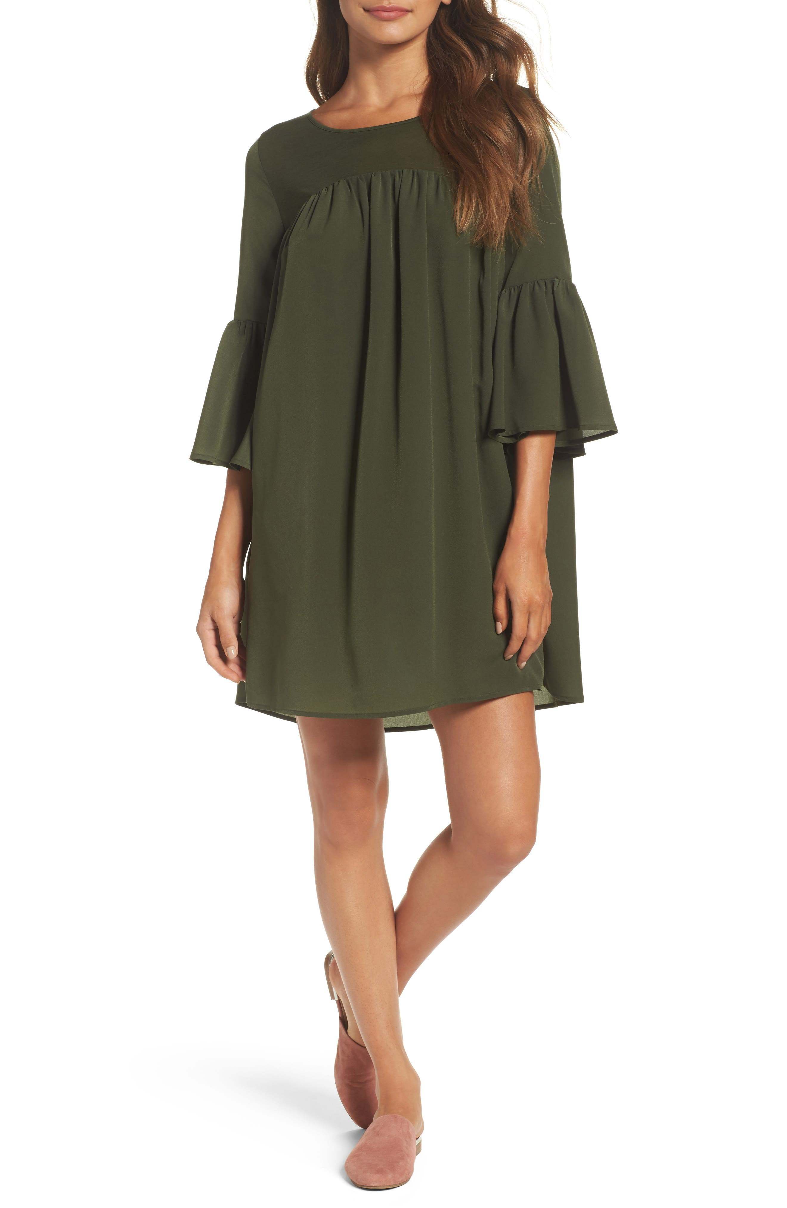 Polly Plains Shift Dress,                         Main,                         color, Woodland Green
