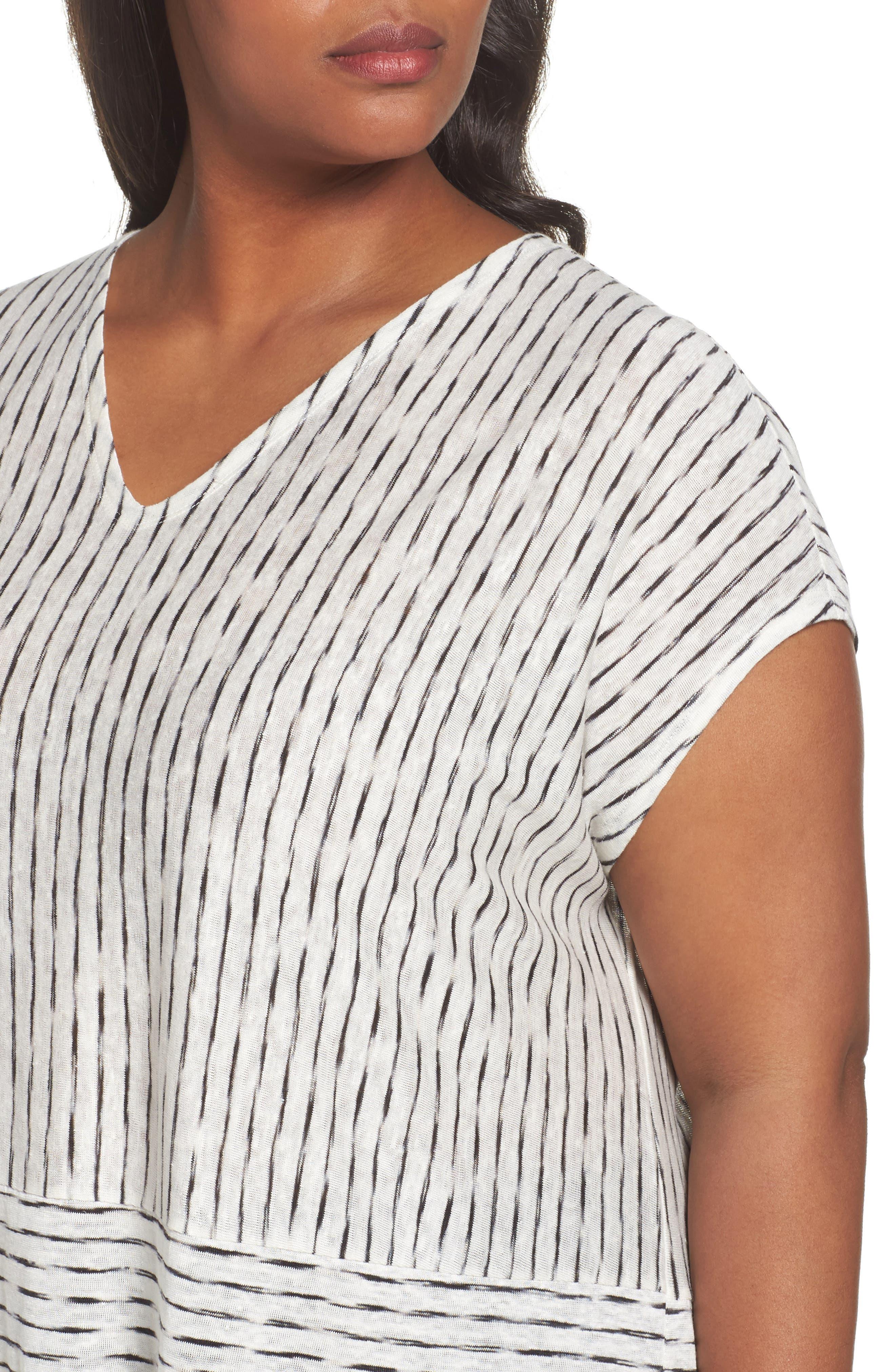 Alternate Image 4  - Eileen Fisher Painterly Organic Linen Jersey Tunic (Plus Size)