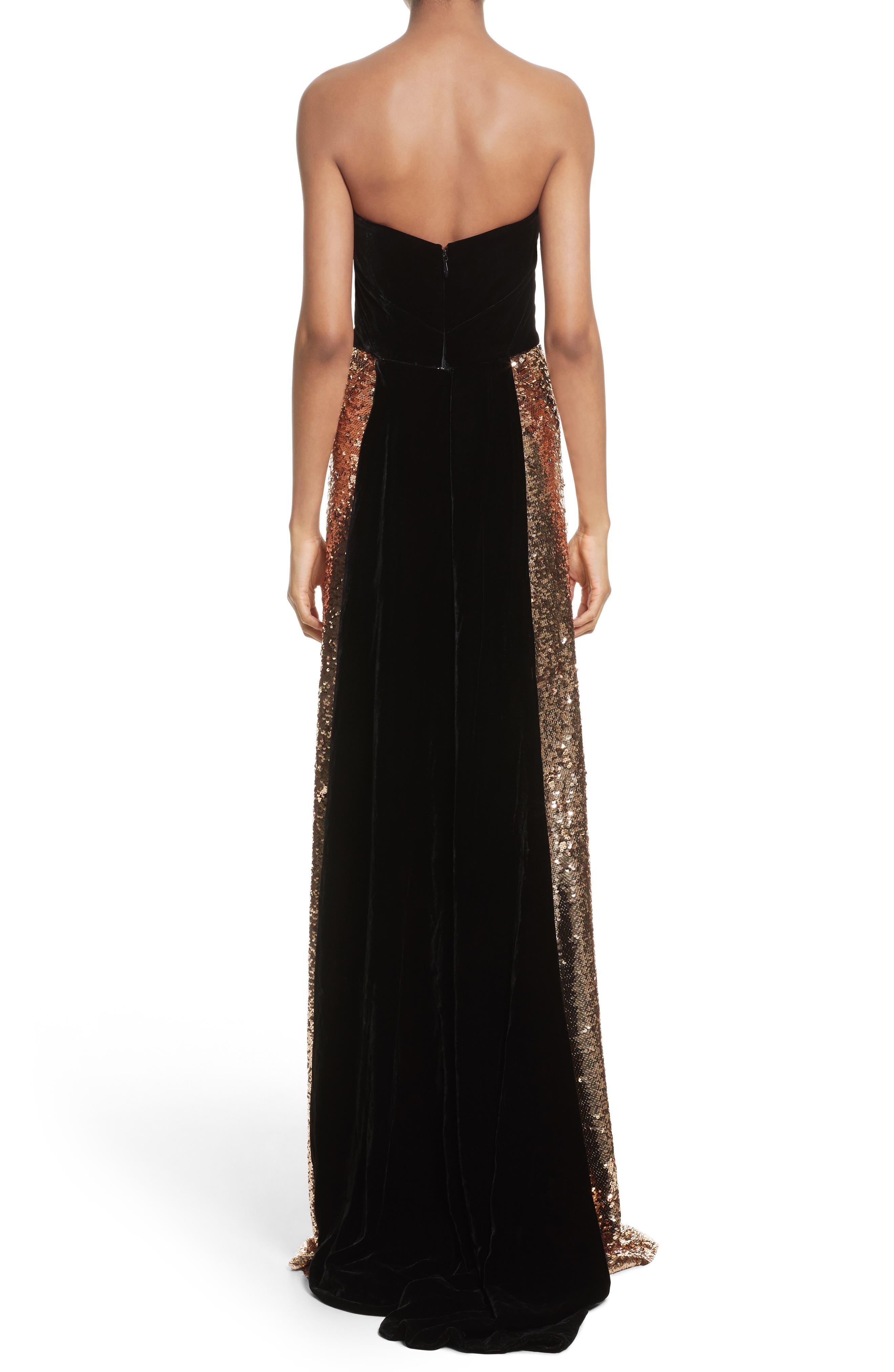 Strapless Velvet & Sequin Gown,                             Alternate thumbnail 2, color,                             Gold/ Noir