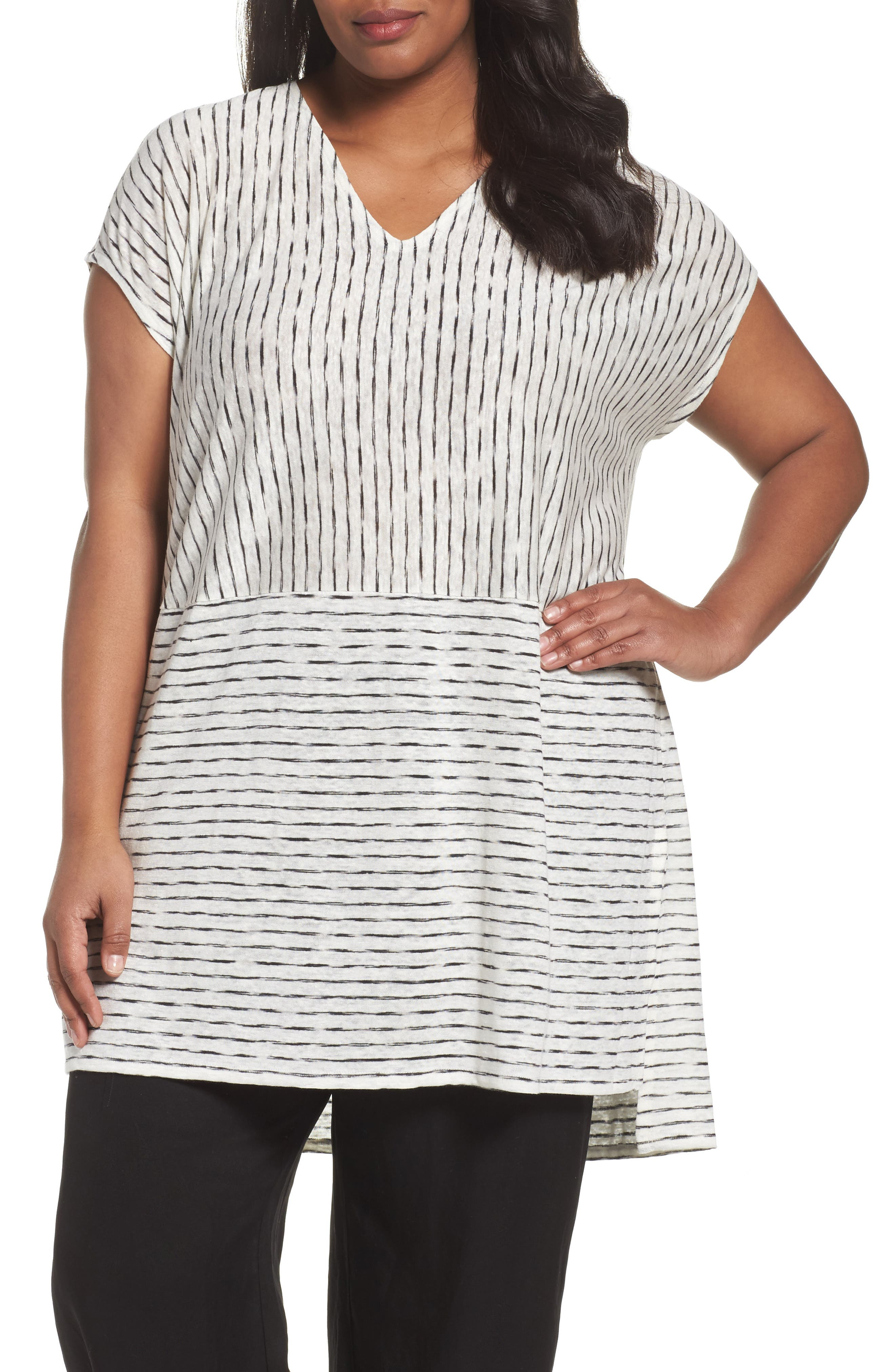 Painterly Organic Linen Jersey Tunic,                         Main,                         color, White