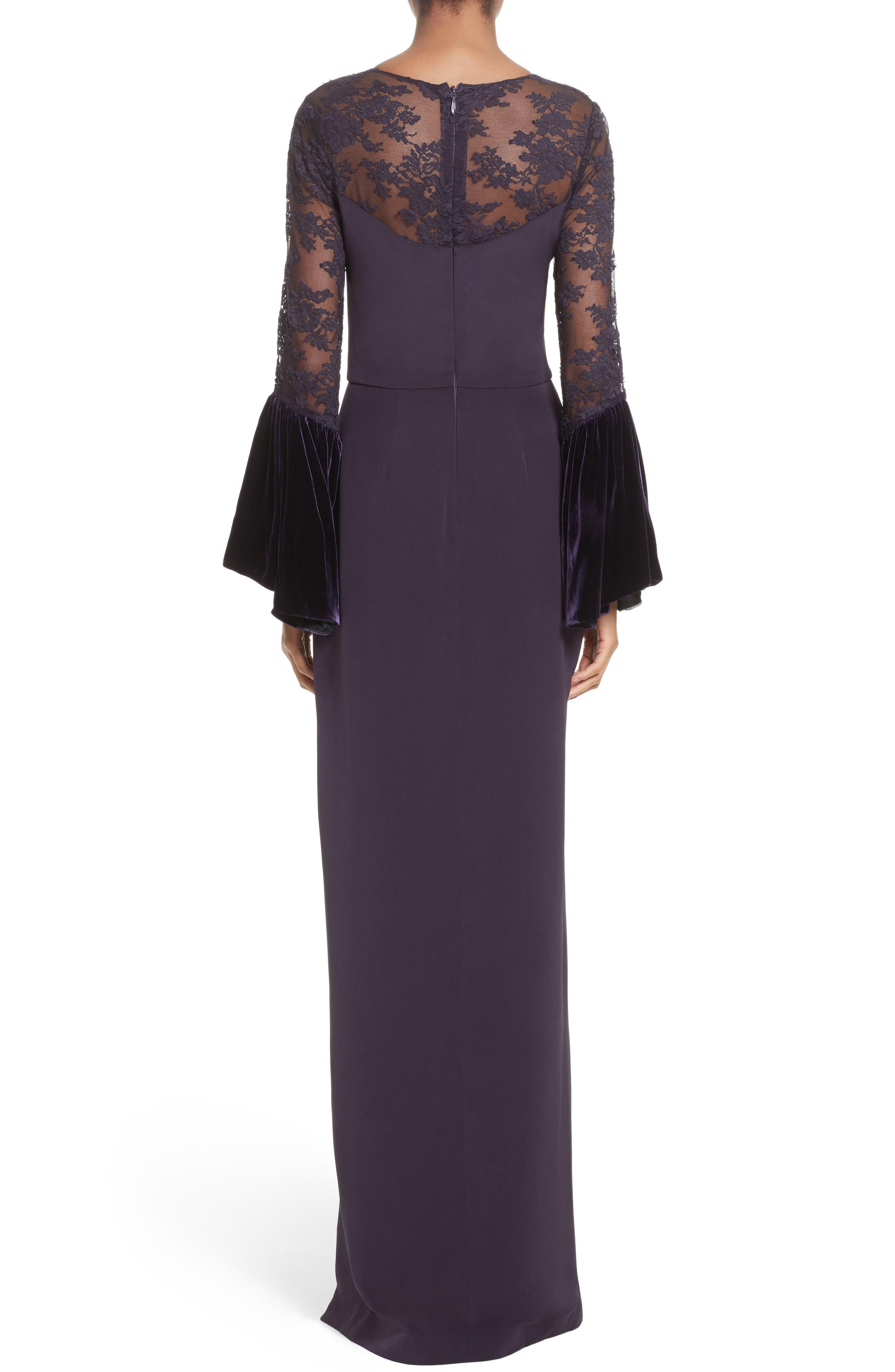 Lace & Velvet Trim Crepe Gown,                             Alternate thumbnail 2, color,                             Aubergine