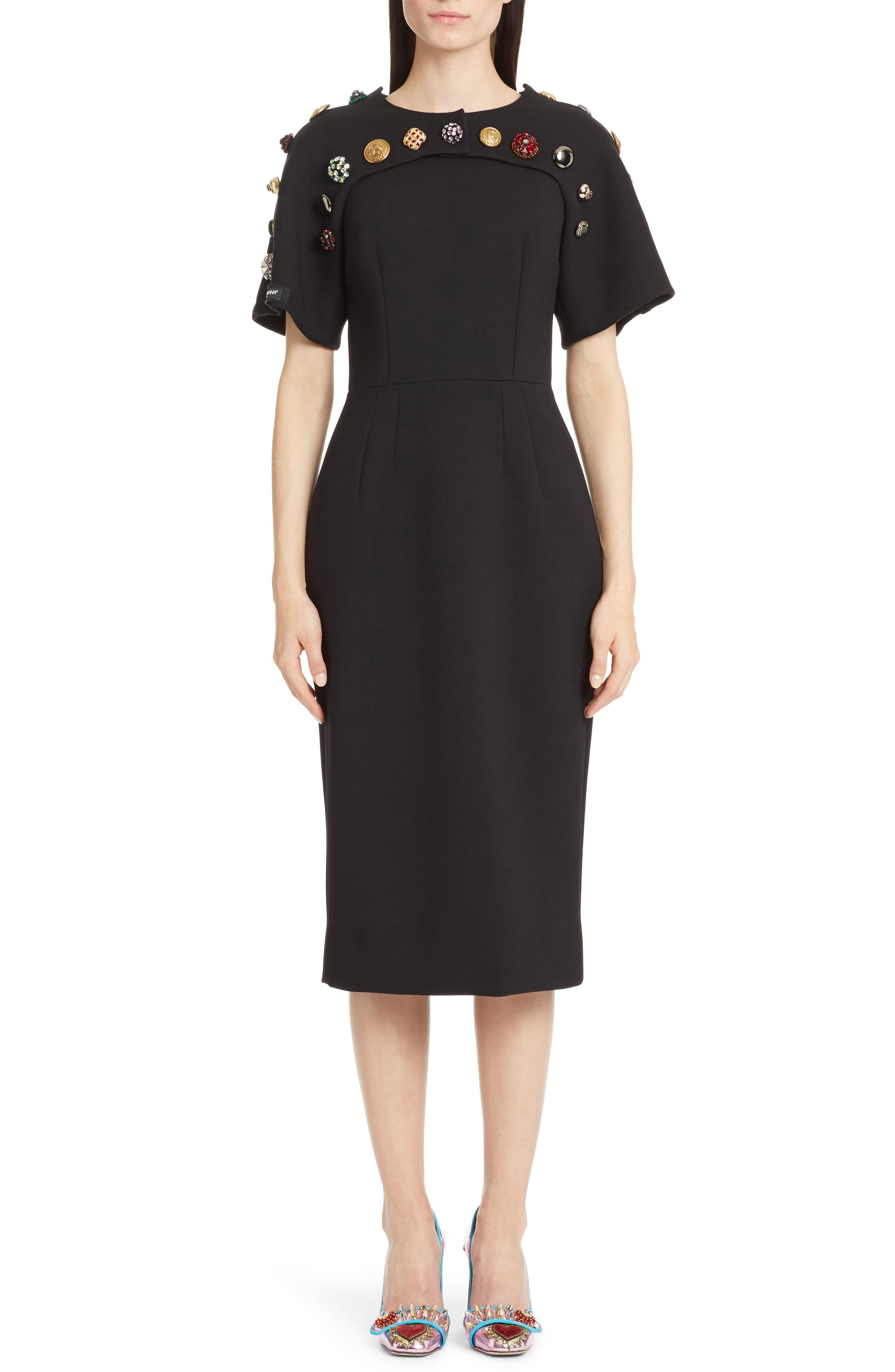 Button Trim Stretch Wool Sheath Dress,                         Main,                         color, Nero