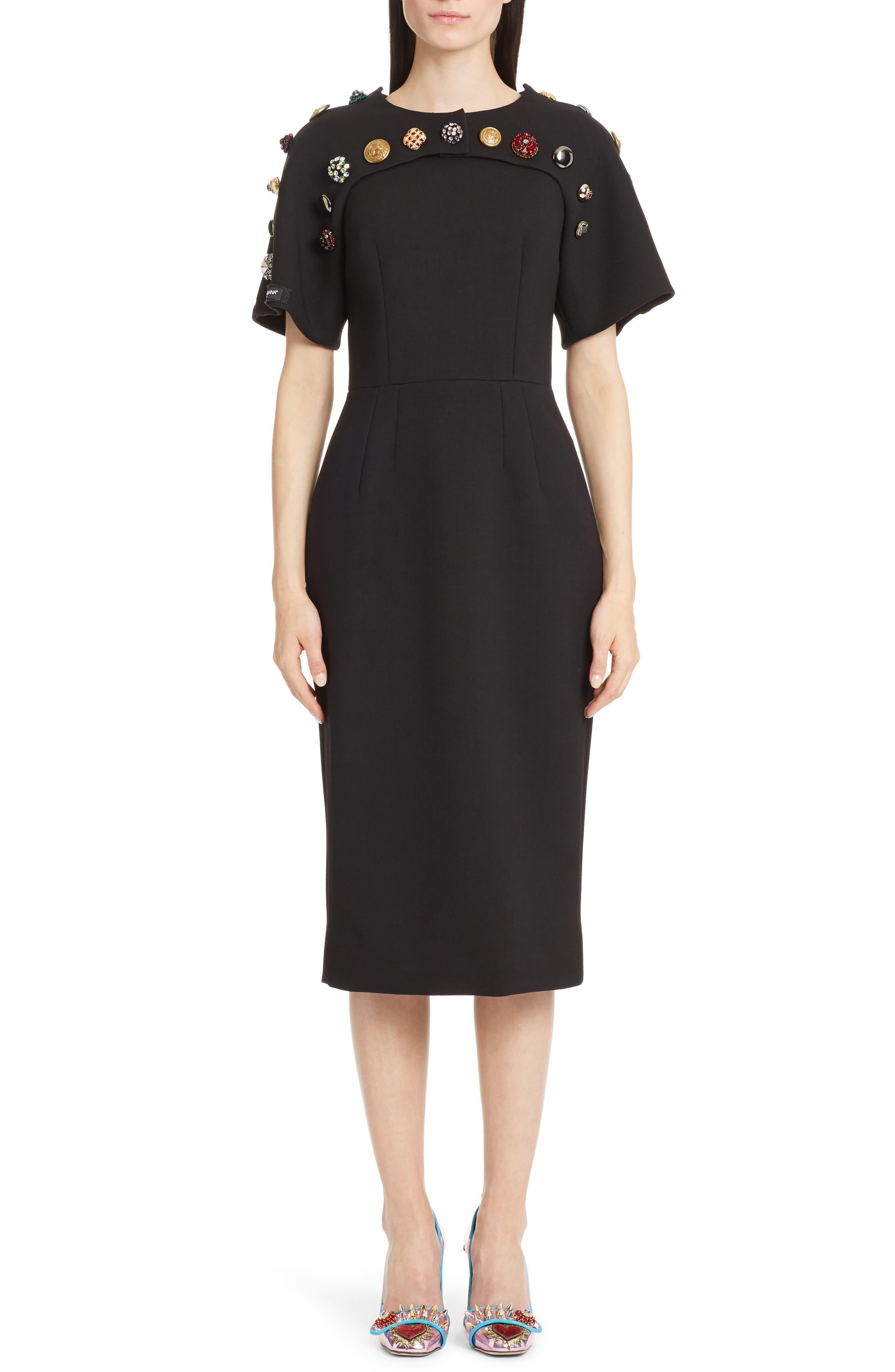 Dolce&Gabbana Button Trim Stretch Wool Sheath Dress
