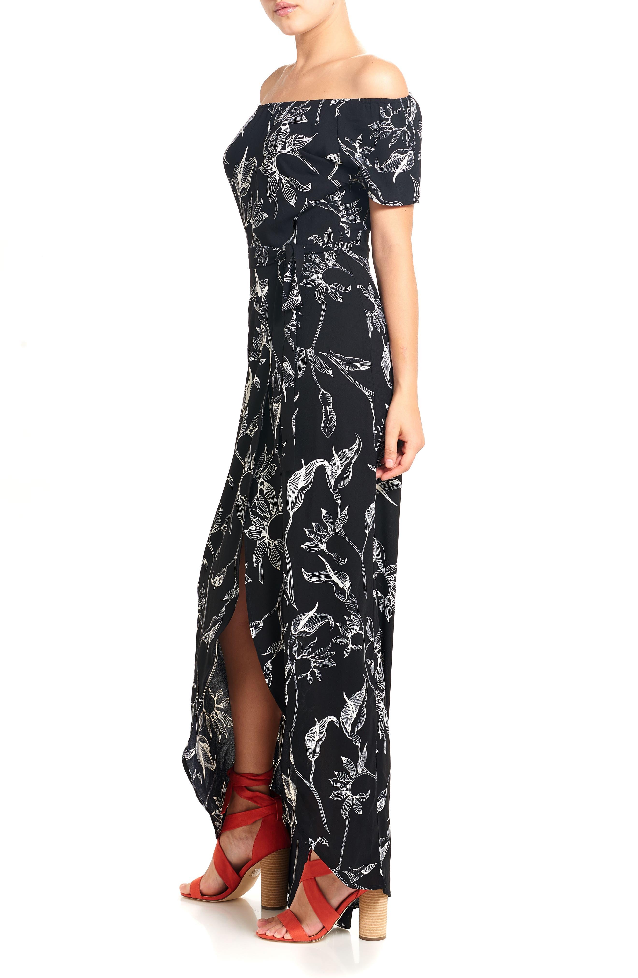 Print Off the Shoulder Maxi Dress,                             Alternate thumbnail 3, color,                             Black