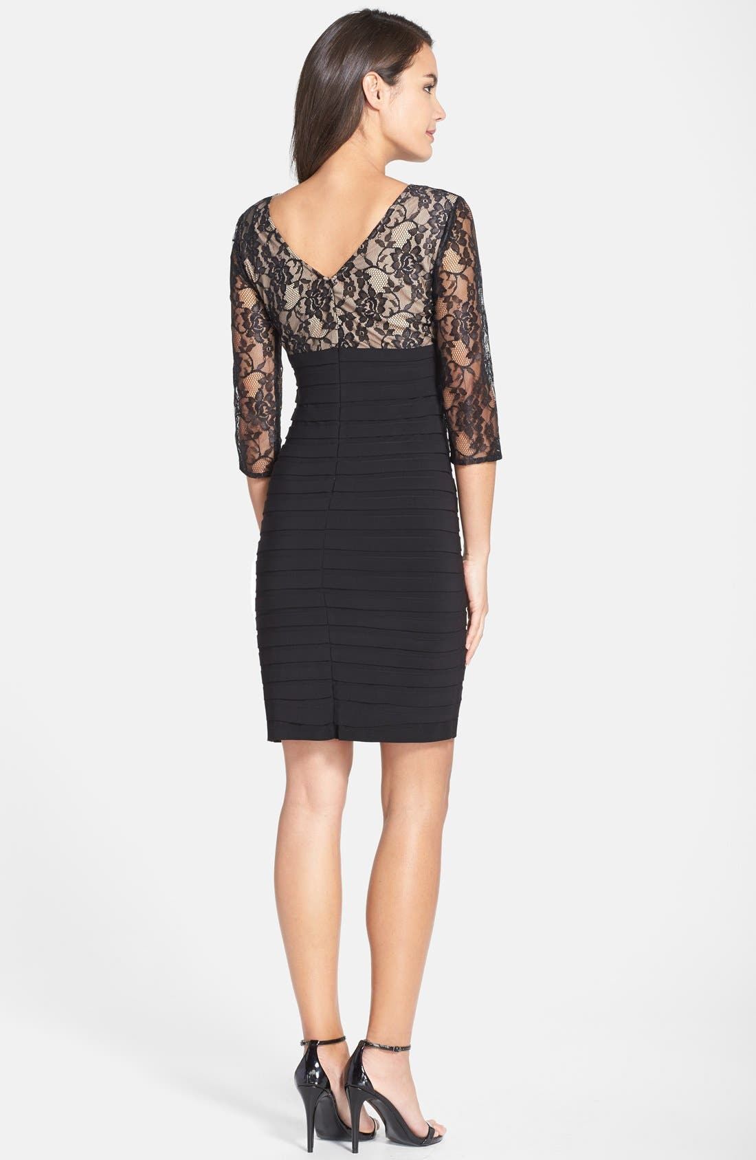 Alternate Image 2  - Adrianna Papell Lace Bodice Banded Sheath Dress (Regular & Petite)