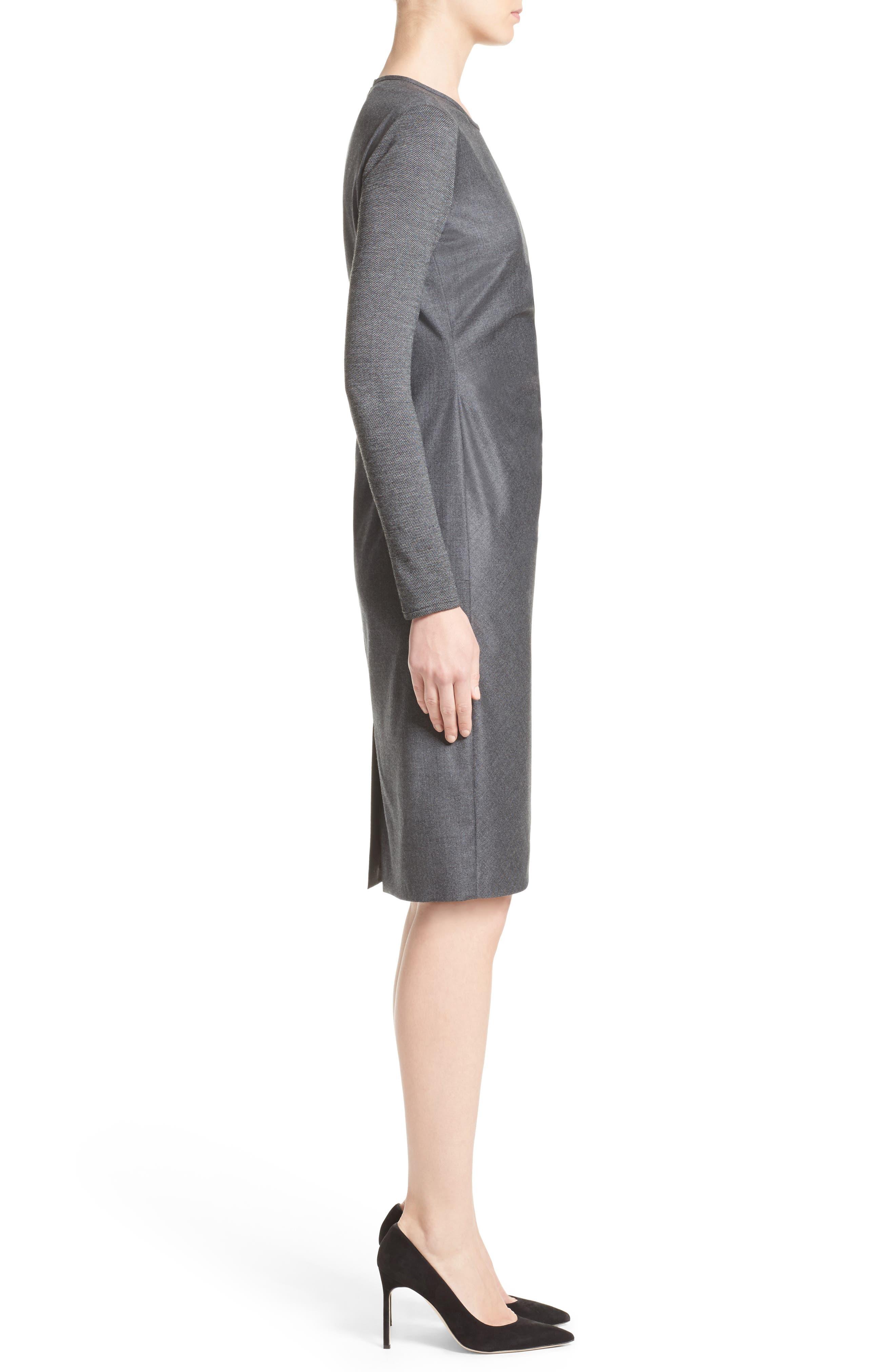 Ragazza Gathered Wool Dress,                             Alternate thumbnail 6, color,                             Dark Grey