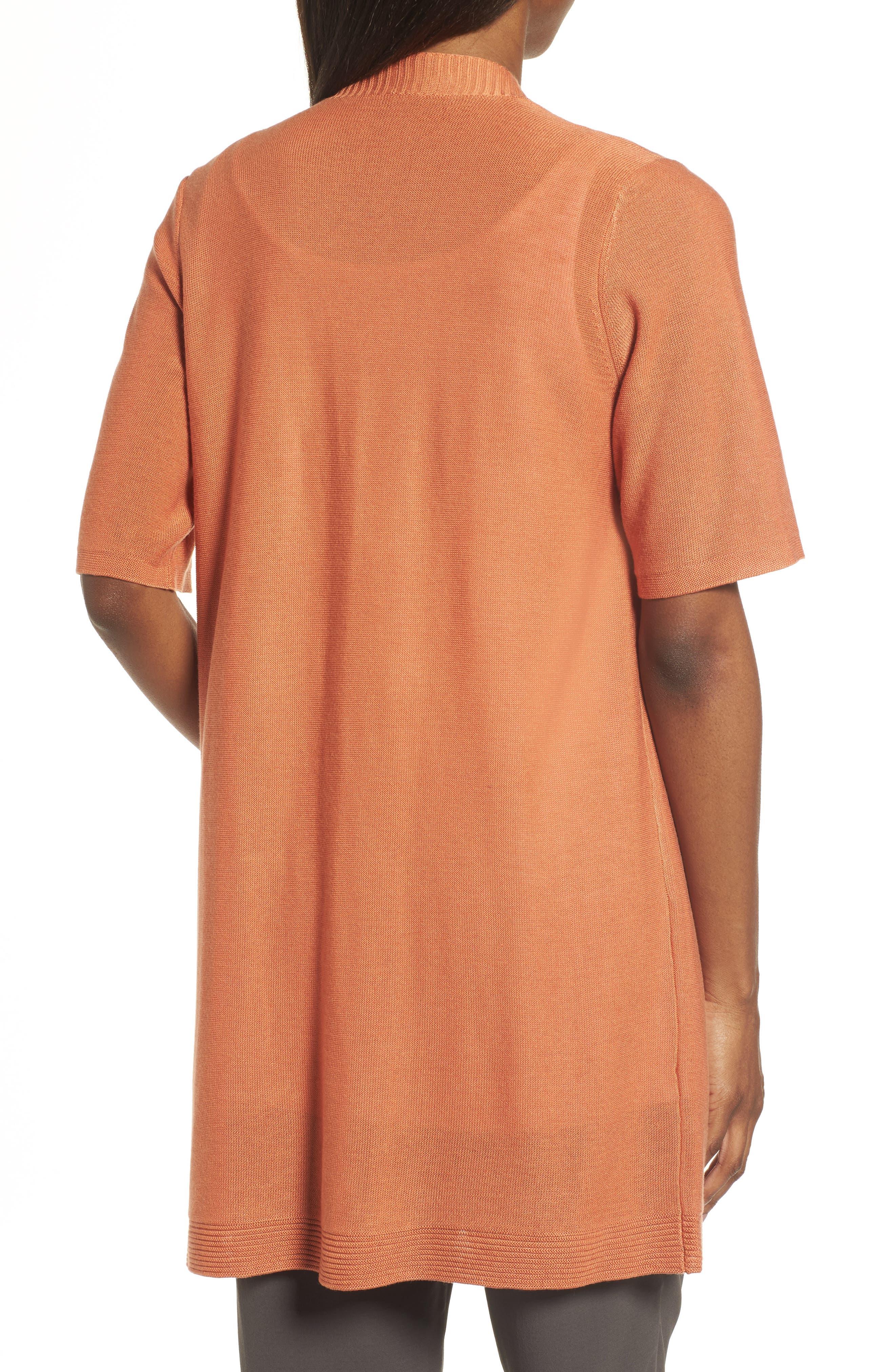 Simple Tencel<sup>®</sup> & Merino Wool Cardigan,                             Alternate thumbnail 2, color,                             Pumpkin