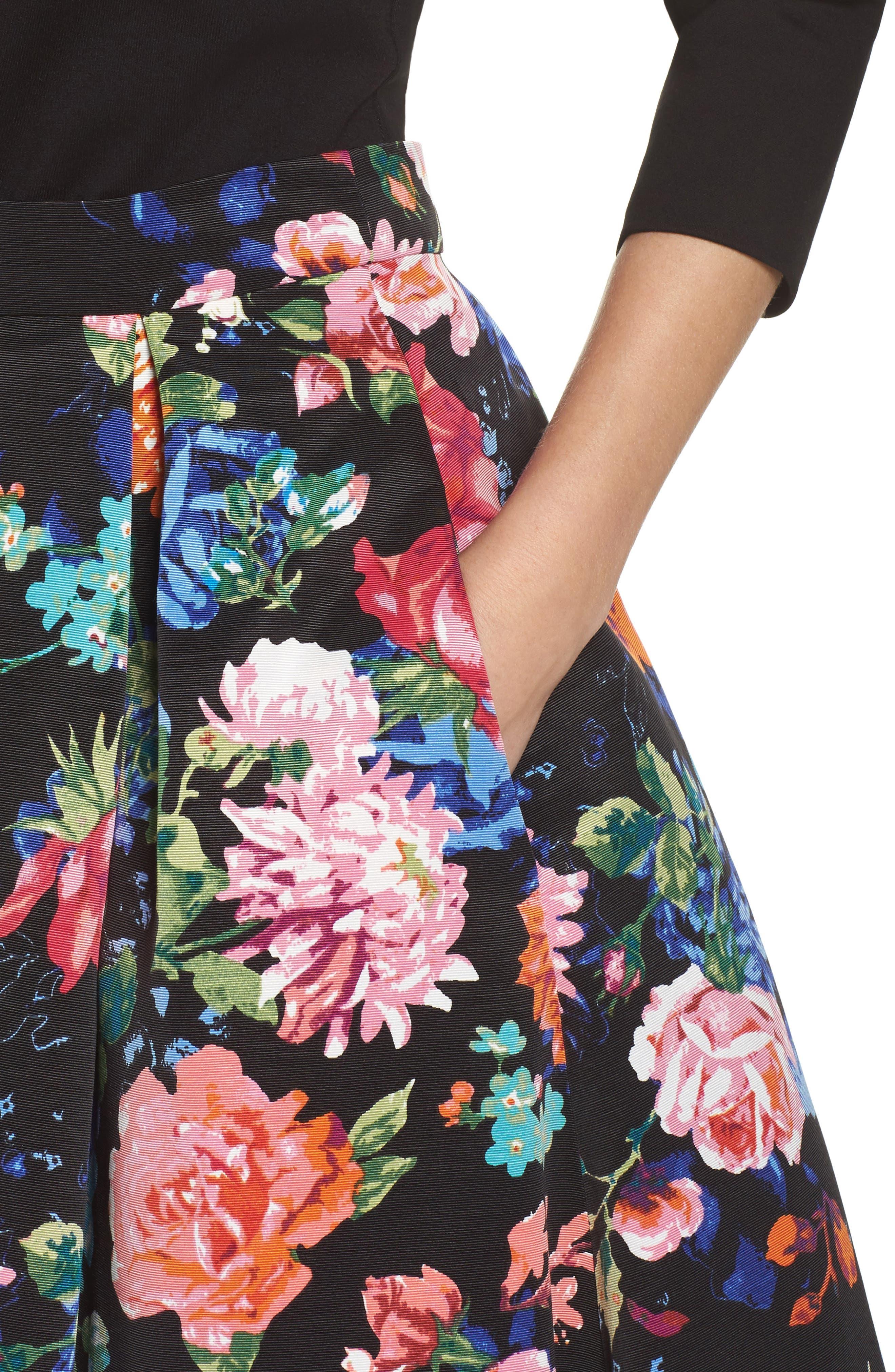 Floral Midi Skirt,                             Alternate thumbnail 4, color,                             Black/ Pink