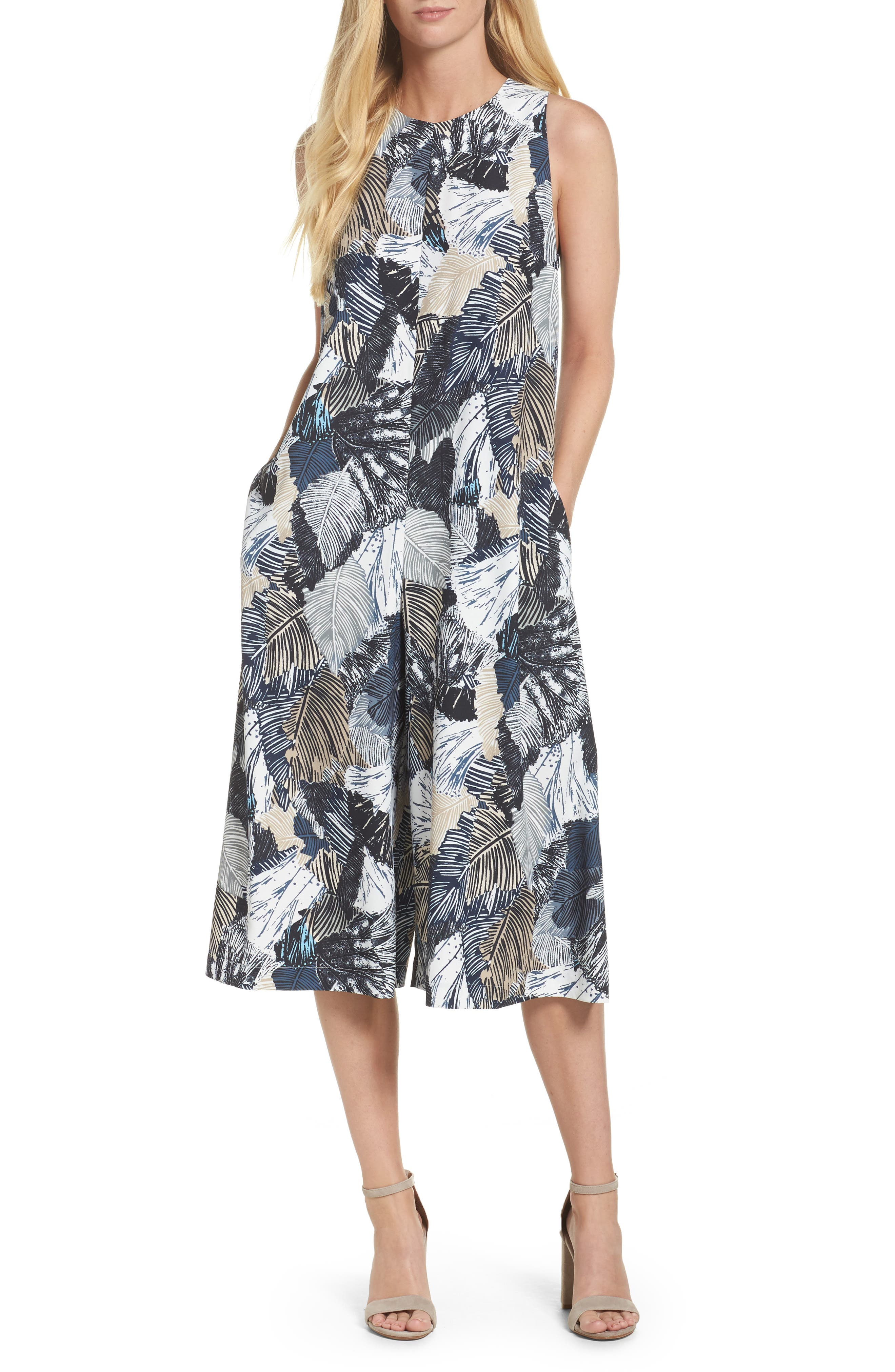 Lala Palm Culotte Jumpsuit,                             Main thumbnail 1, color,                             Summer White Multi
