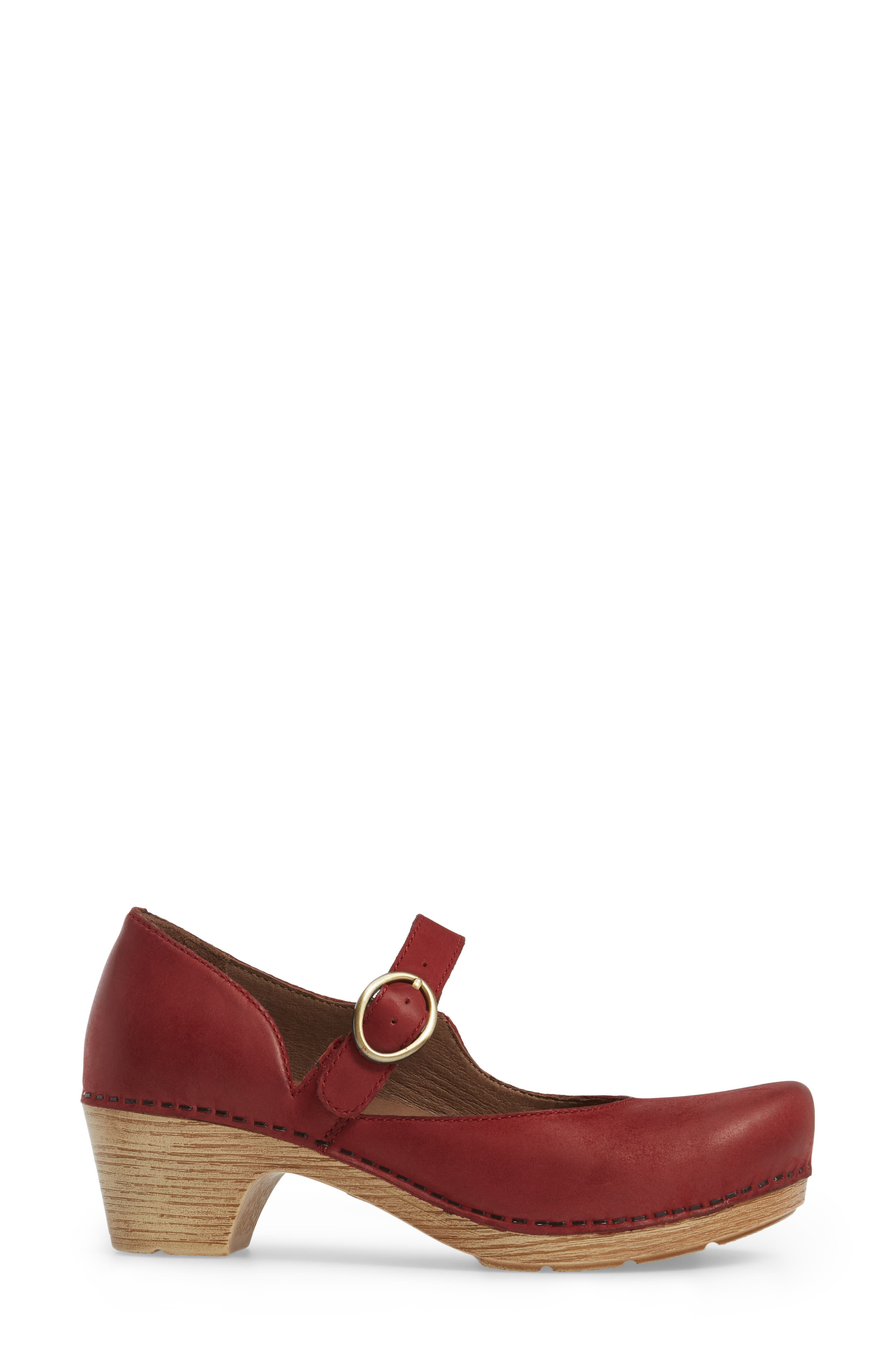 Missy Mary Jane Pump,                             Alternate thumbnail 3, color,                             Red Leather