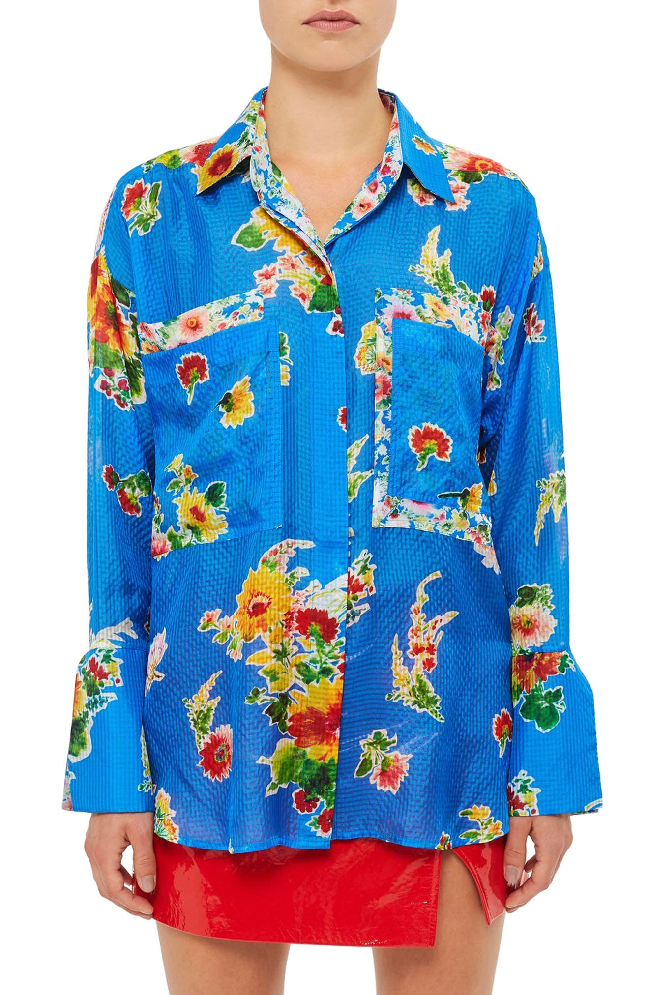 Topshop Unique Sound Garden Silk Shirt