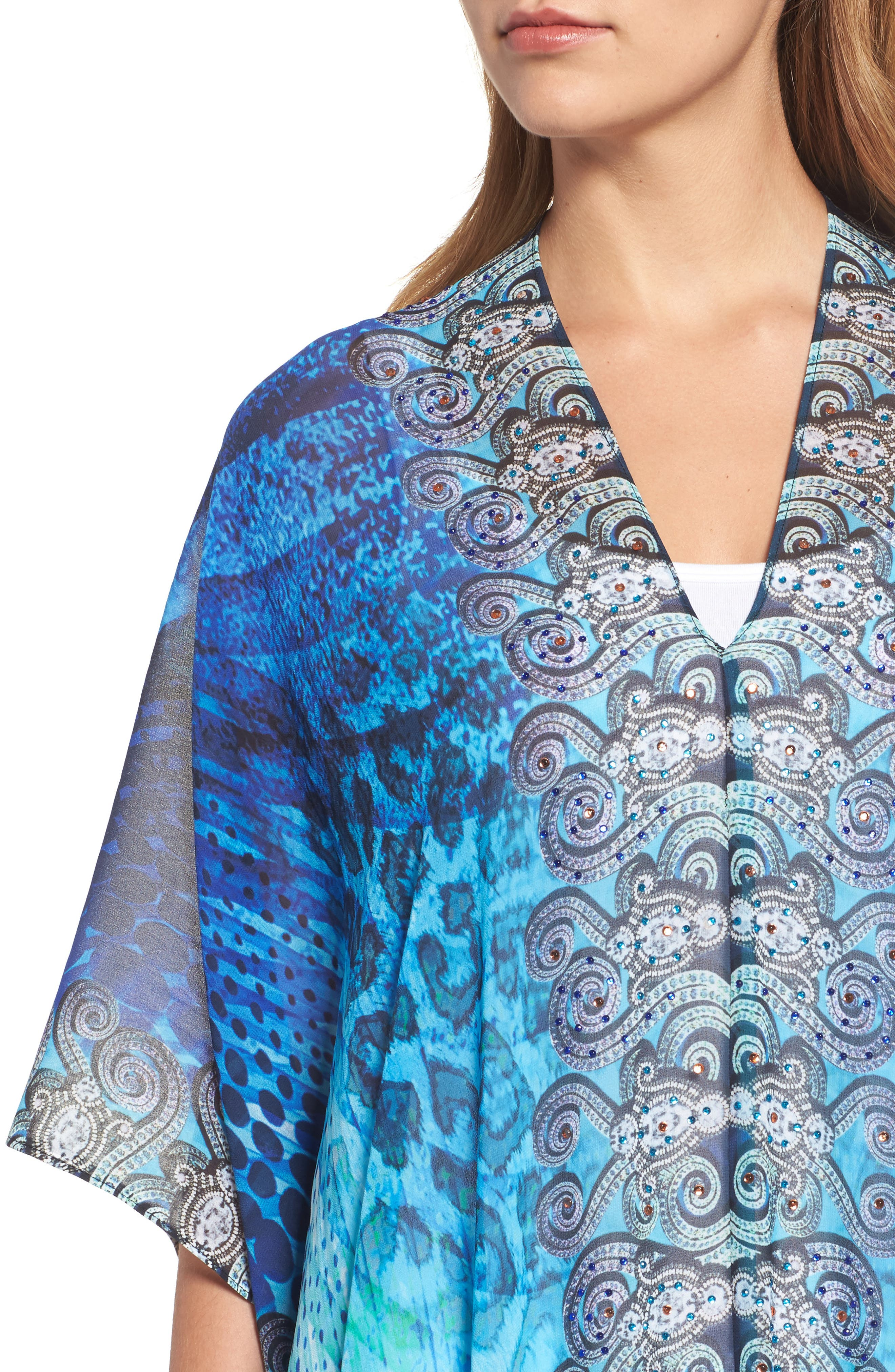Santorini Desert Long Kaftan,                             Alternate thumbnail 4, color,                             Blue