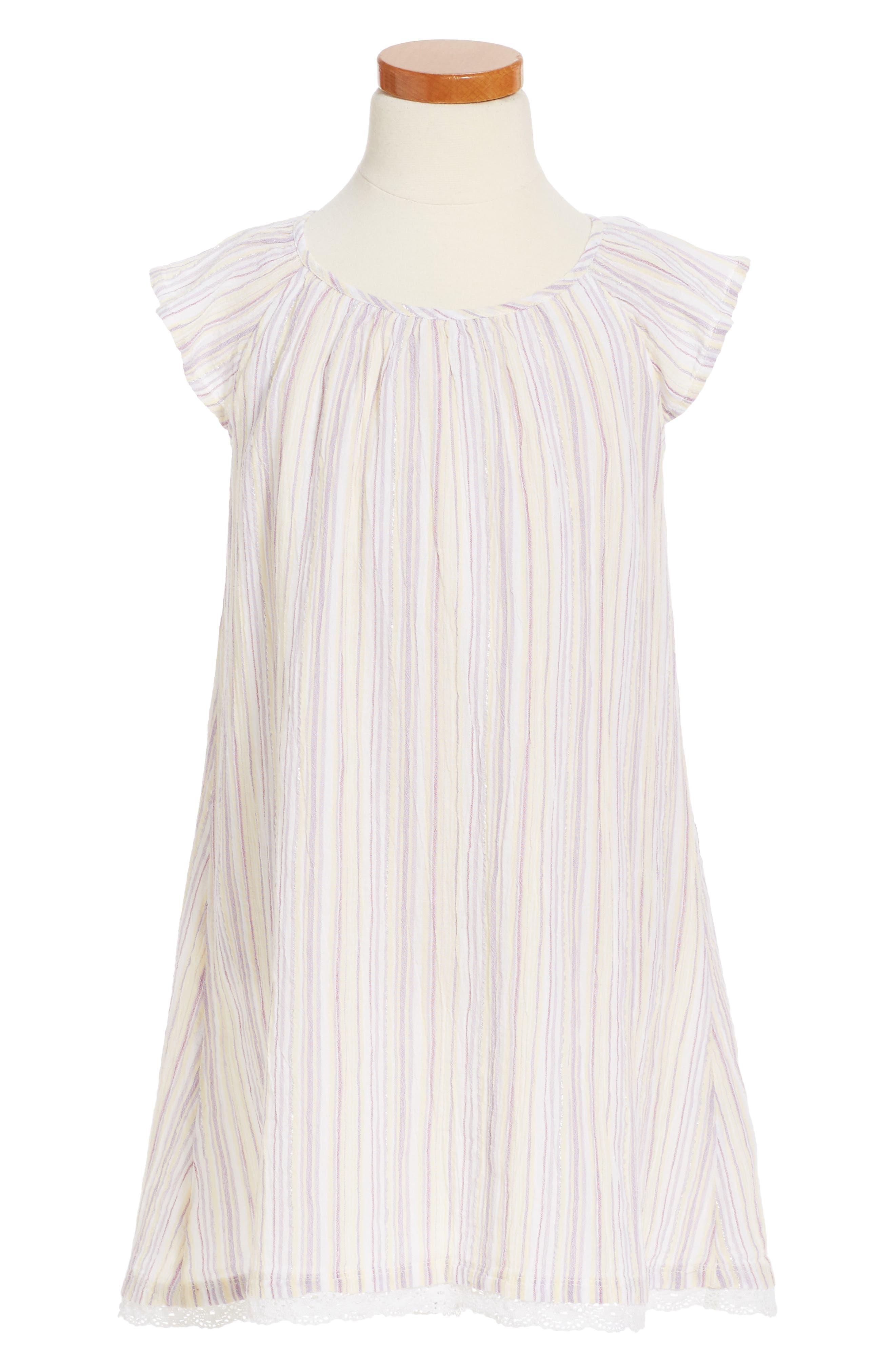 Tucker + Tate Stripe Flutter Sleeve Dress (Toddler Girls, Little Girls & Big Girls)