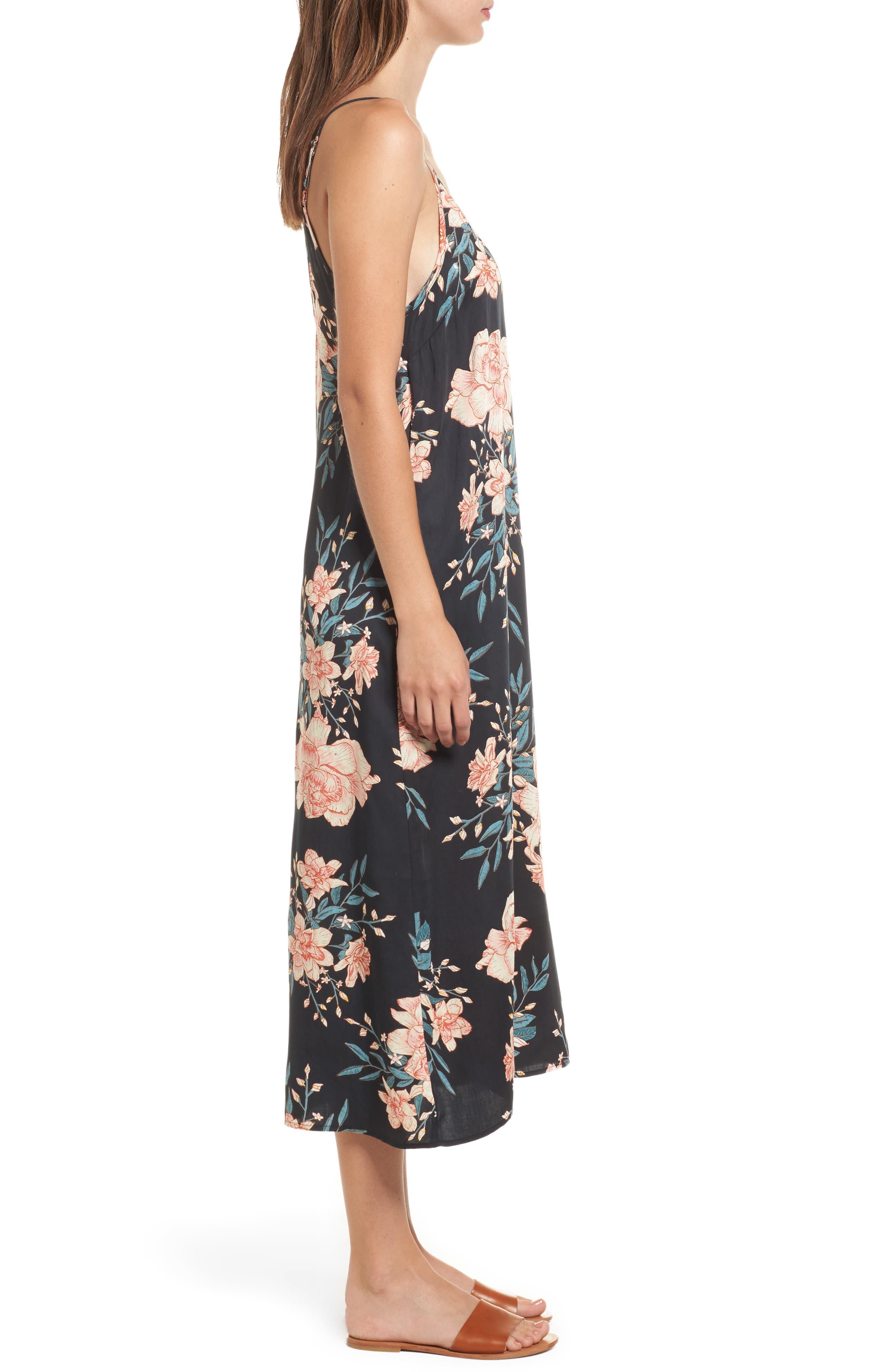 Dreamy Garden Print Dress,                             Alternate thumbnail 3, color,                             Black