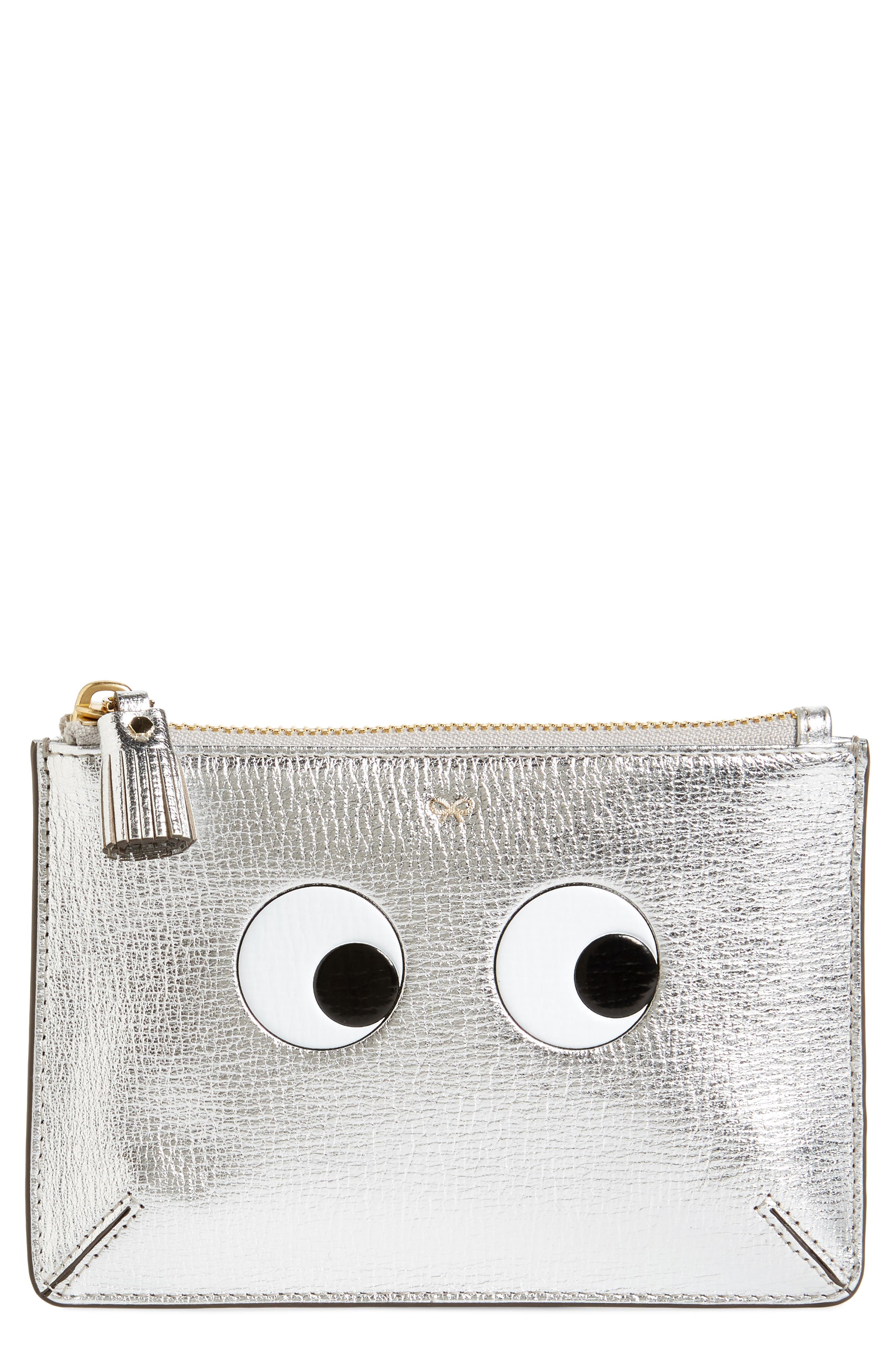 Eyes Leather Zip Pouch,                         Main,                         color, Silver