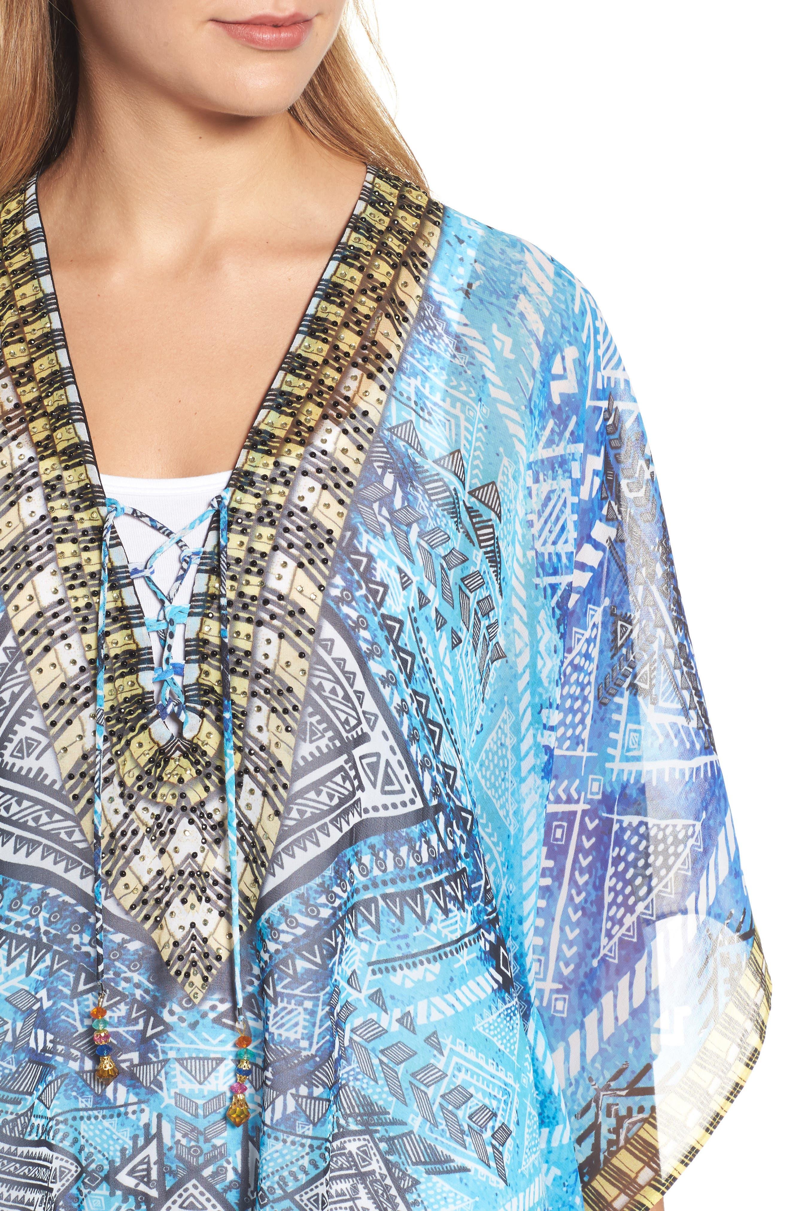 'Fiji' Short Kaftan,                             Alternate thumbnail 4, color,                             Blue Multi