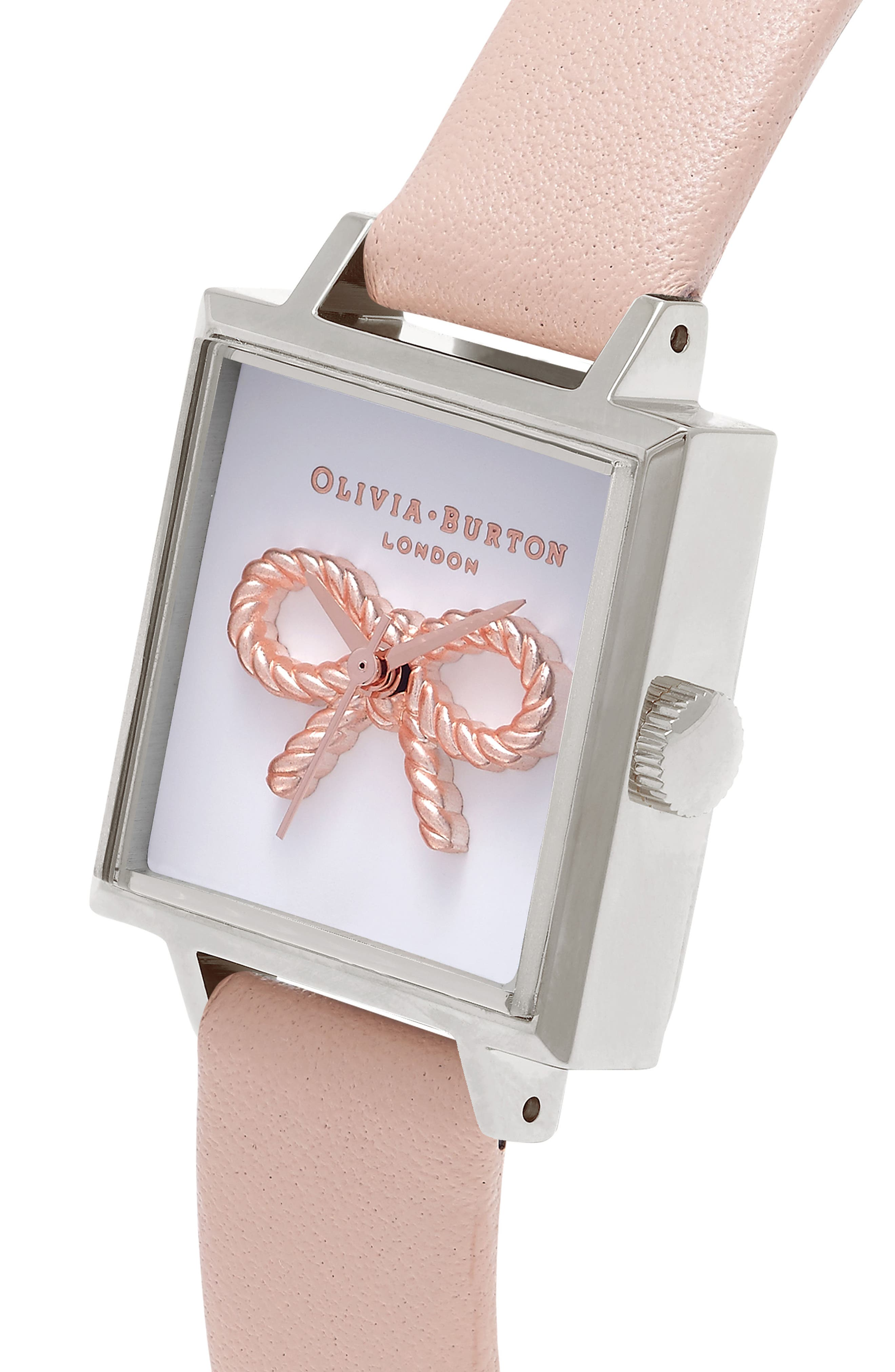 Alternate Image 3  - Olivia Burton Vintage Bow Square Leather Strap Watch, 23mm