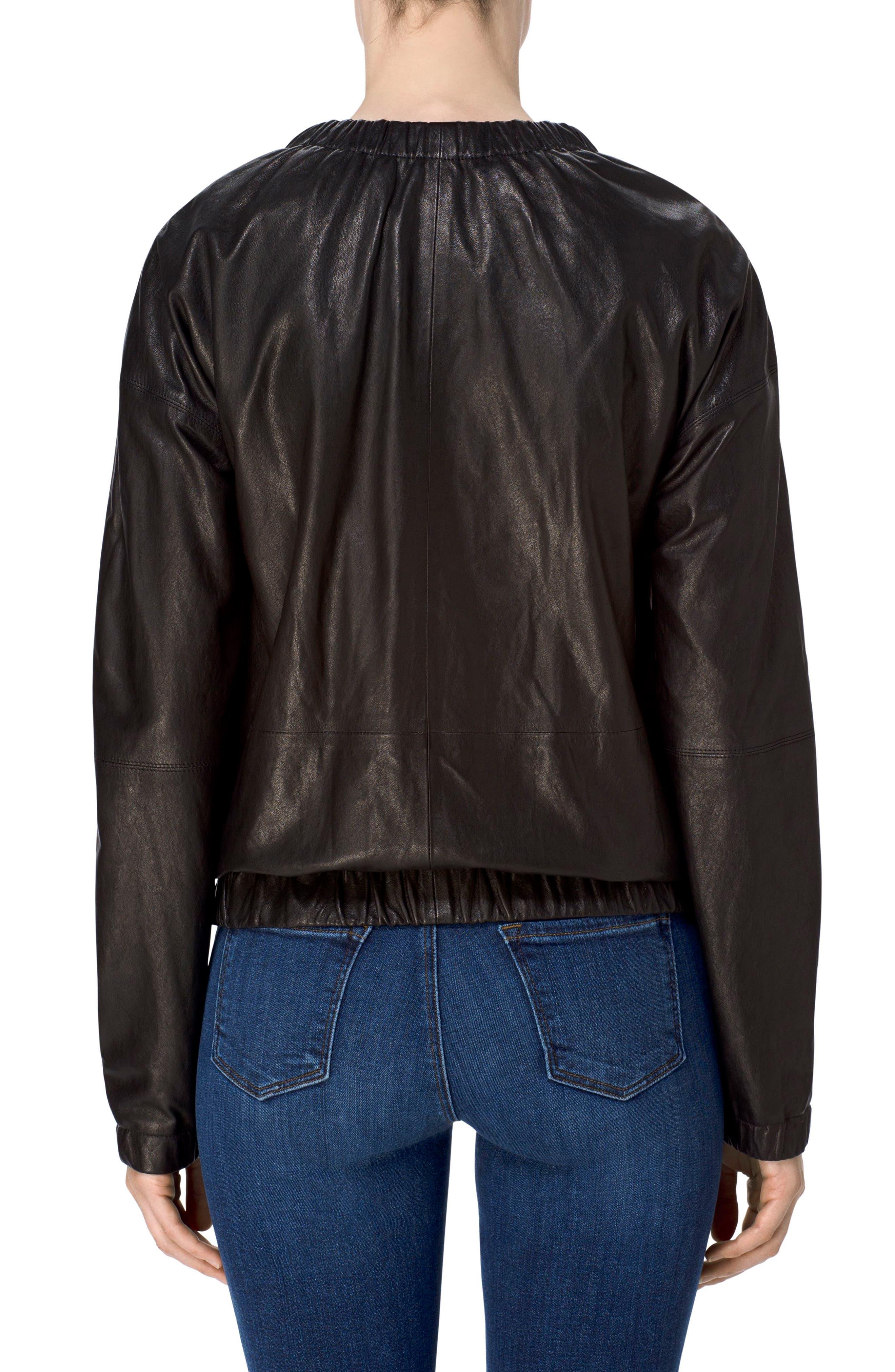 Baez Leather Bomber Jacket,                             Alternate thumbnail 2, color,                             Black