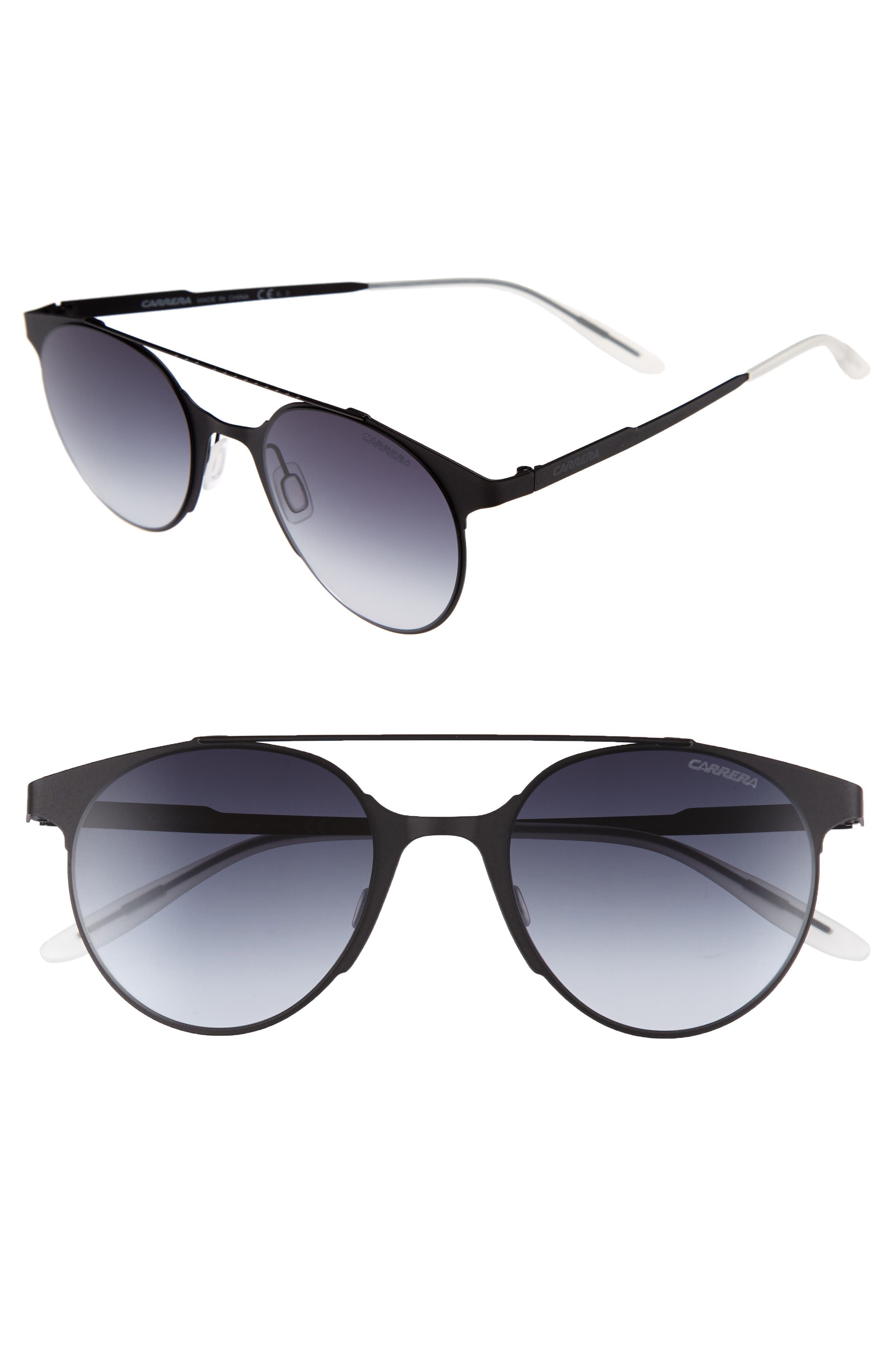 50mm Gradient Round Sunglasses,                         Main,                         color, Matte Black