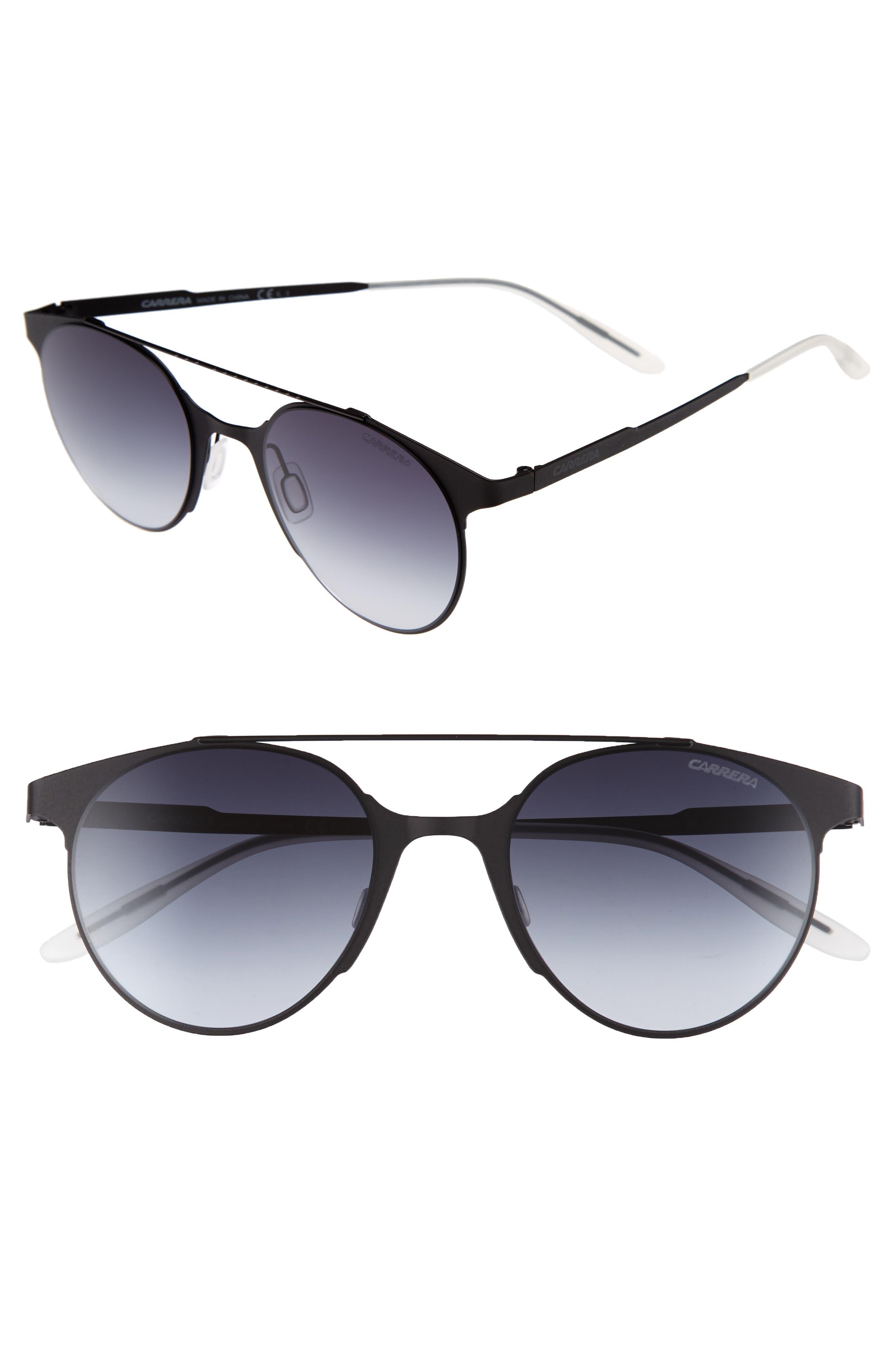 50mm Gradient Round Sunglasses,                         Main,                         color, Matte Black