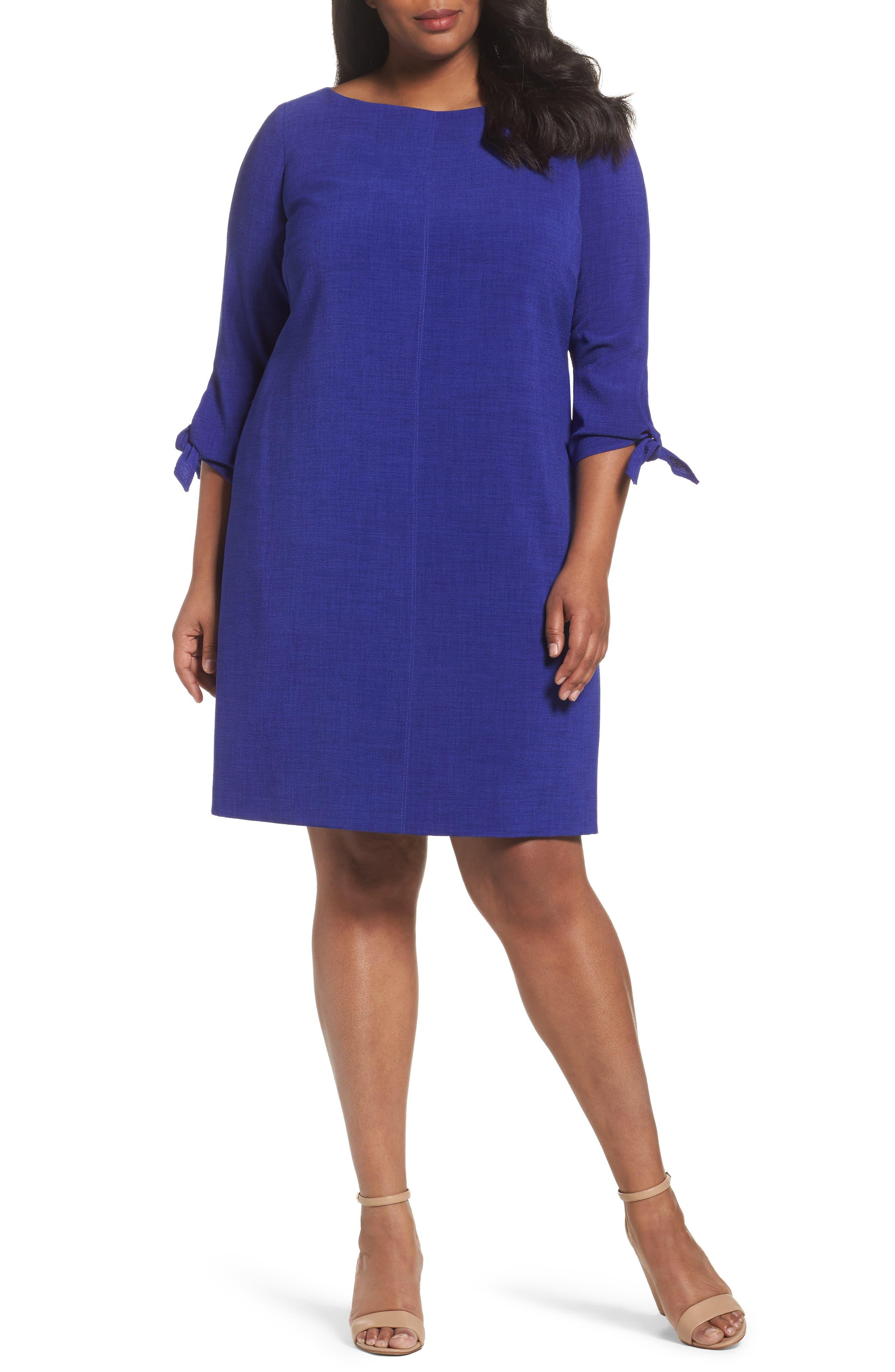 Tahari Tie Sleeve Shift Dress (Plus Size)
