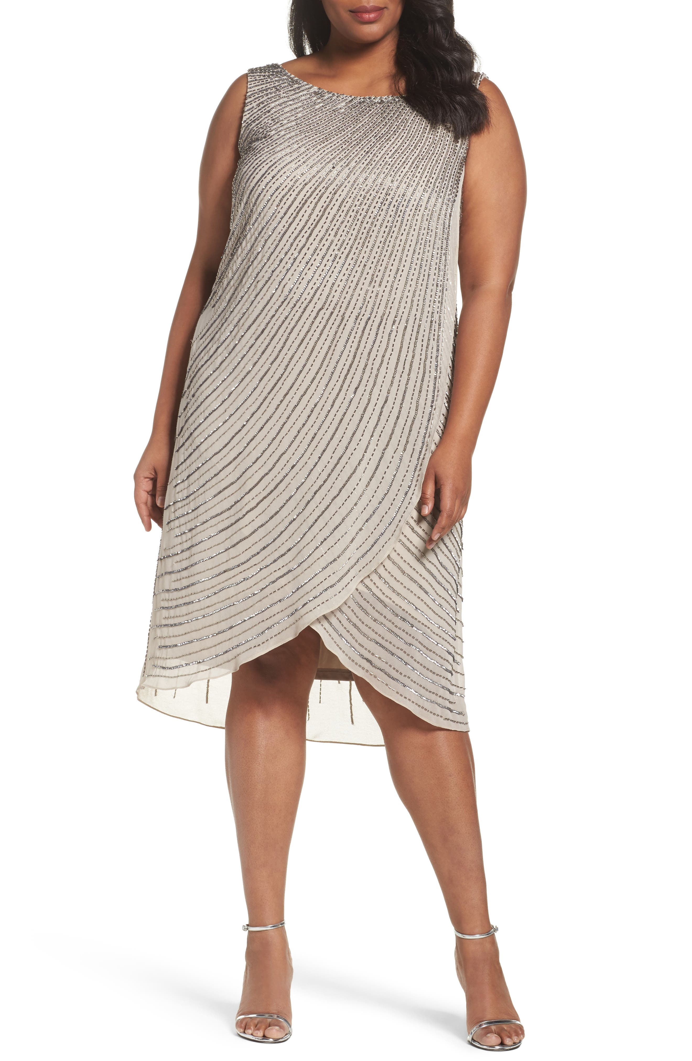 Adrianna Papell Beaded High/Low Dress (Plus Size)