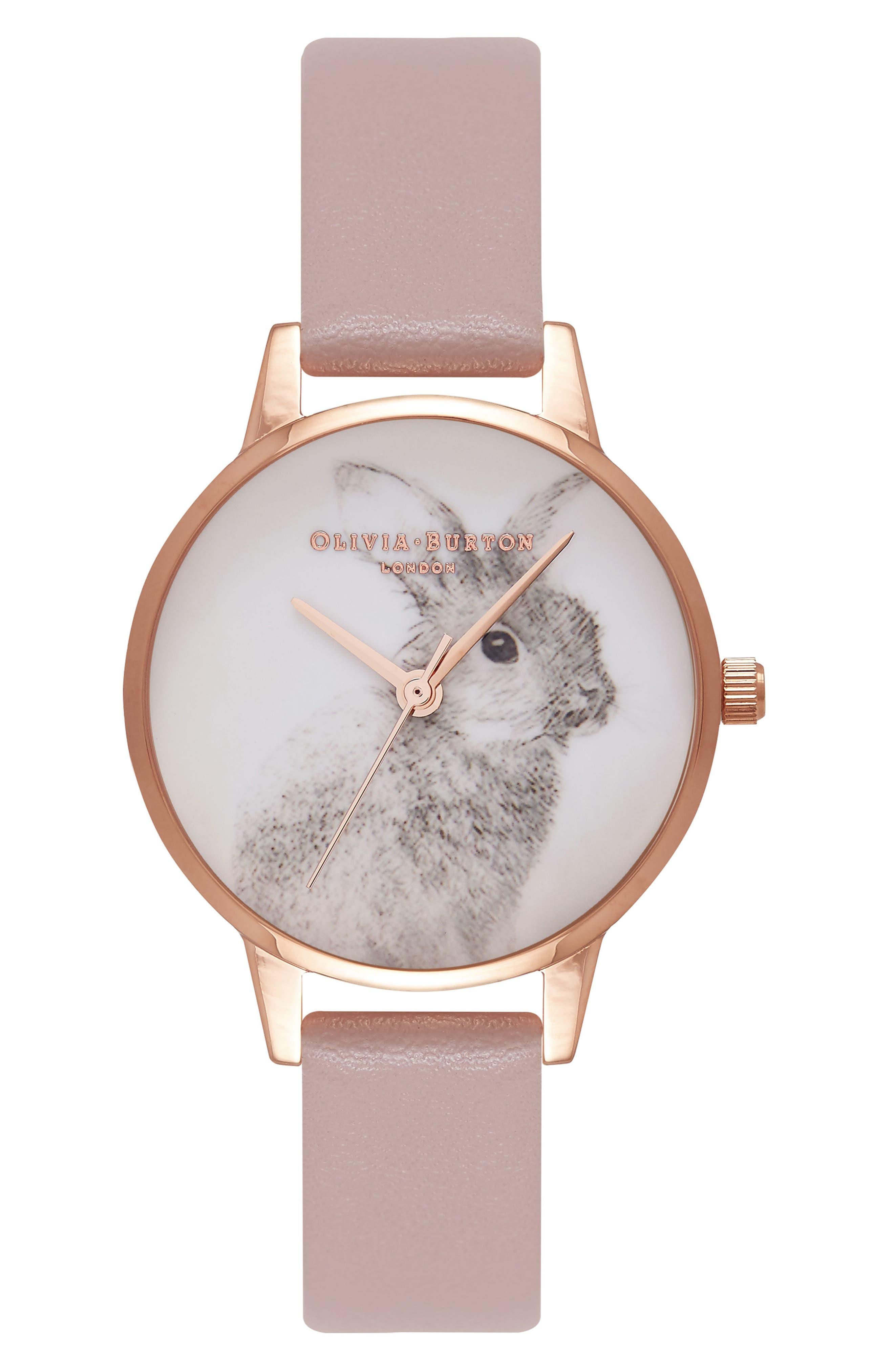 Olivia Burton Woodland Bunny Faux Leather Strap Watch, 30mm
