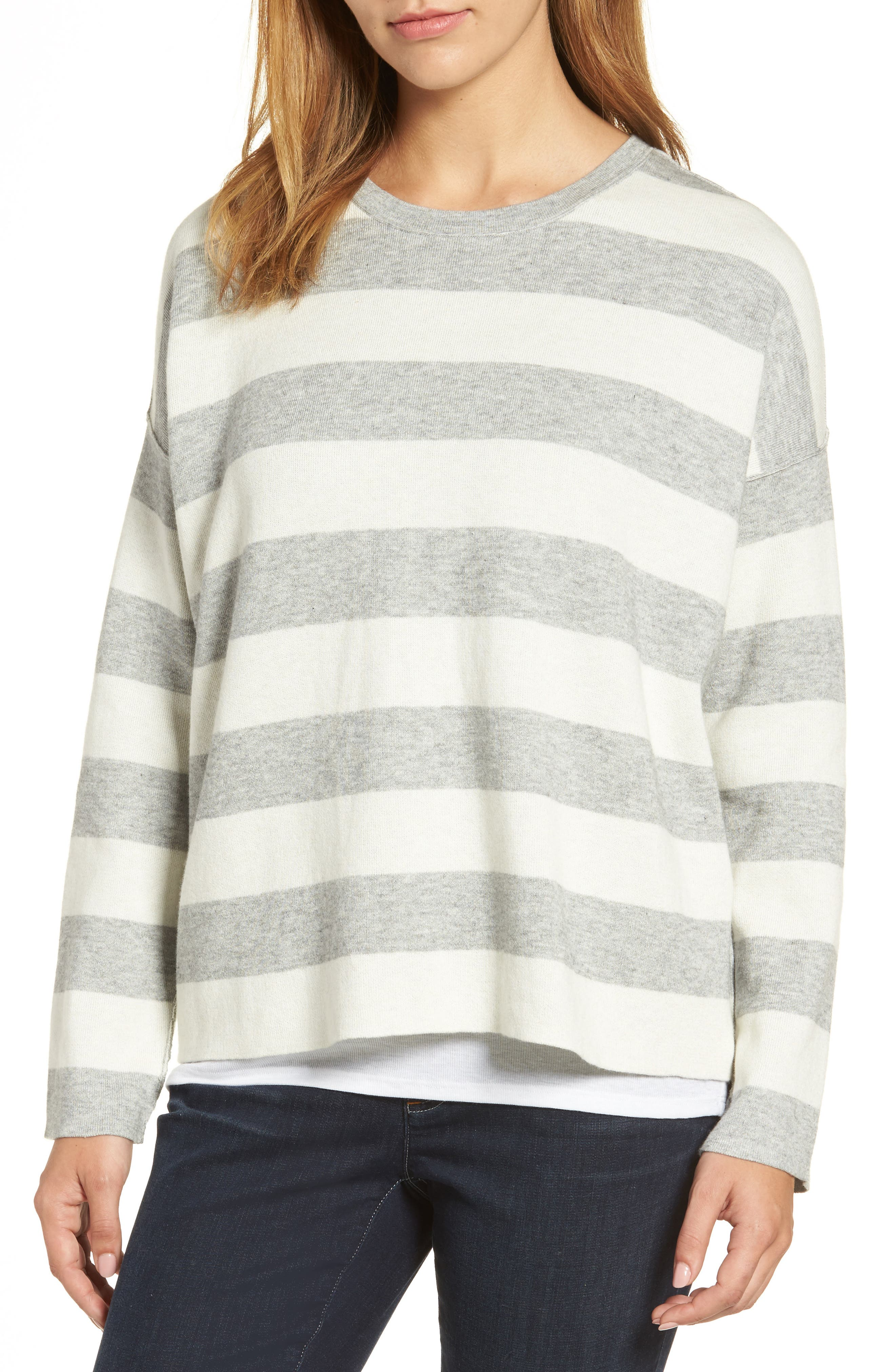 Stripe Organic Cotton Blend Top,                         Main,                         color, Dark Pearl/ Soft White