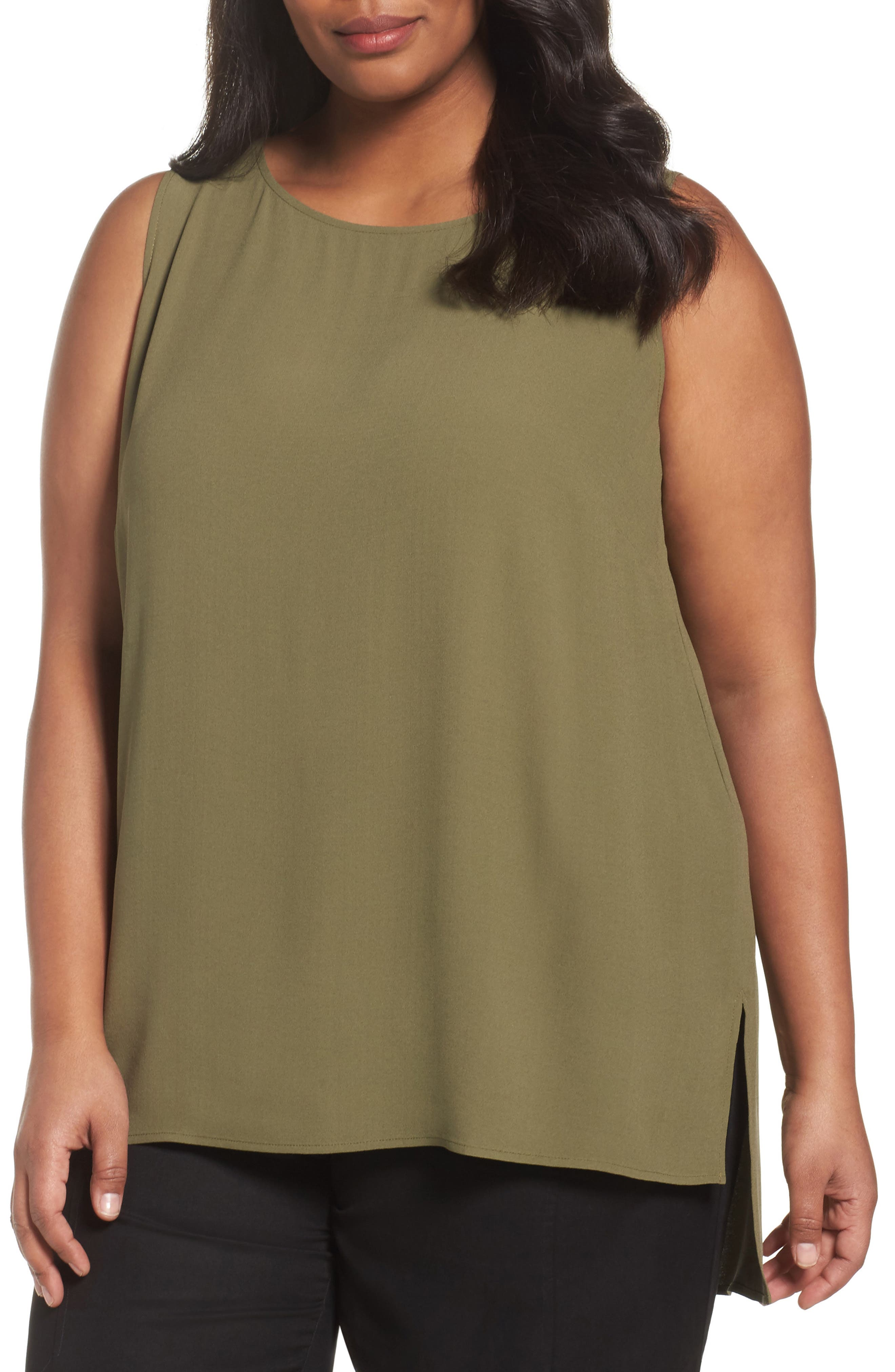 Eileen Fisher Silk Georgette Crepe Tank (Plus Size)
