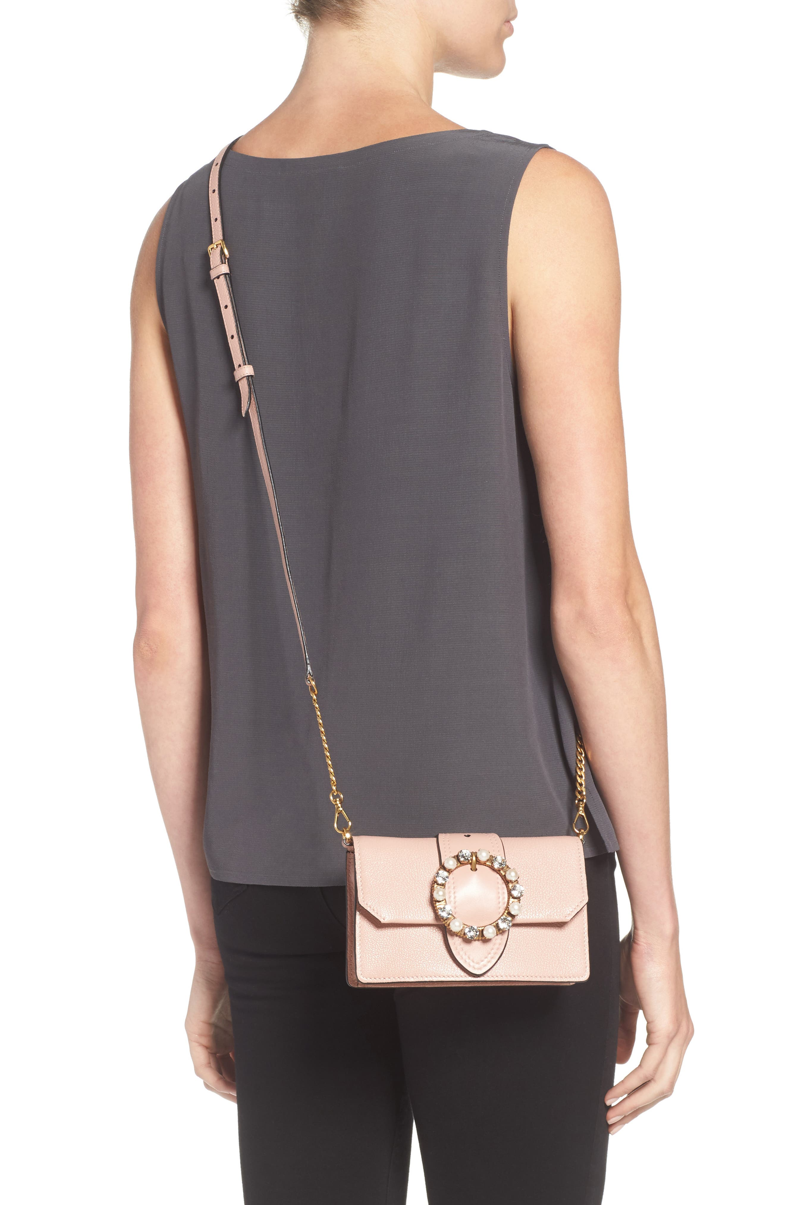 Lady Madras Crystal Embellished Leather Crossbody Bag,                             Alternate thumbnail 2, color,                             Orchidea