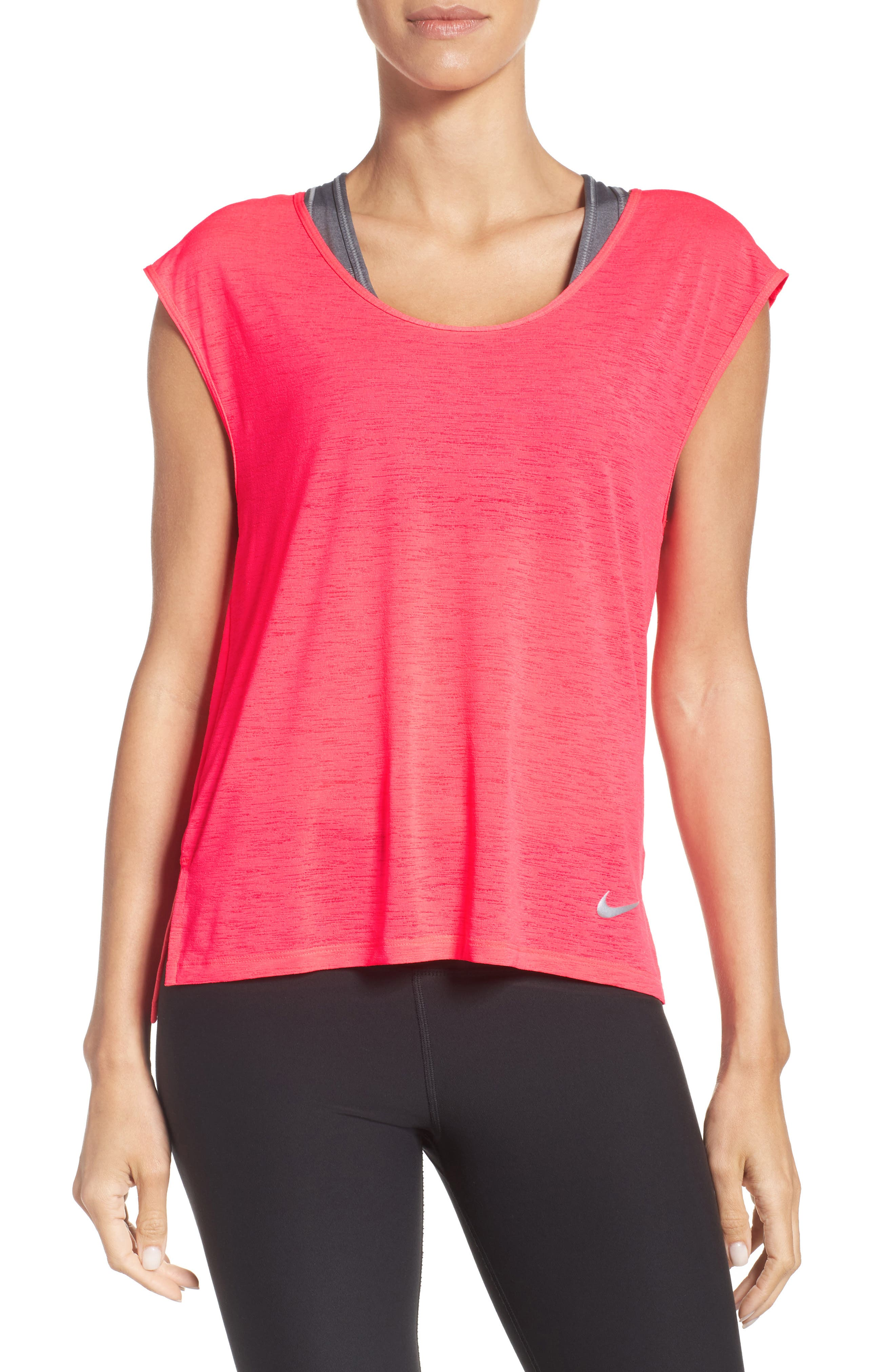 Breathe Running Tee,                         Main,                         color, Racer Pink