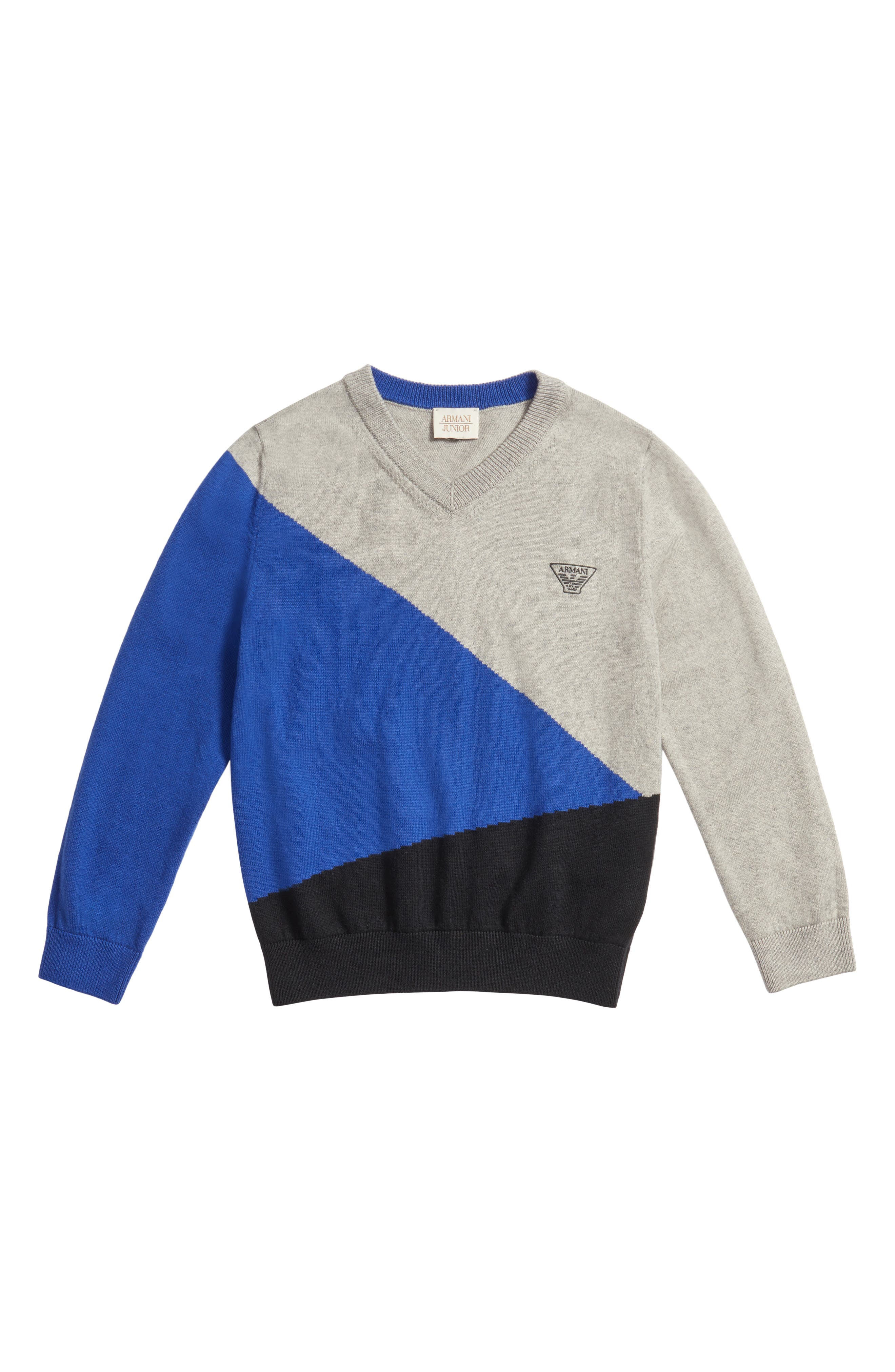 Main Image - Armani Junior Colorblock Sweater (Little Boys & Big Boys)