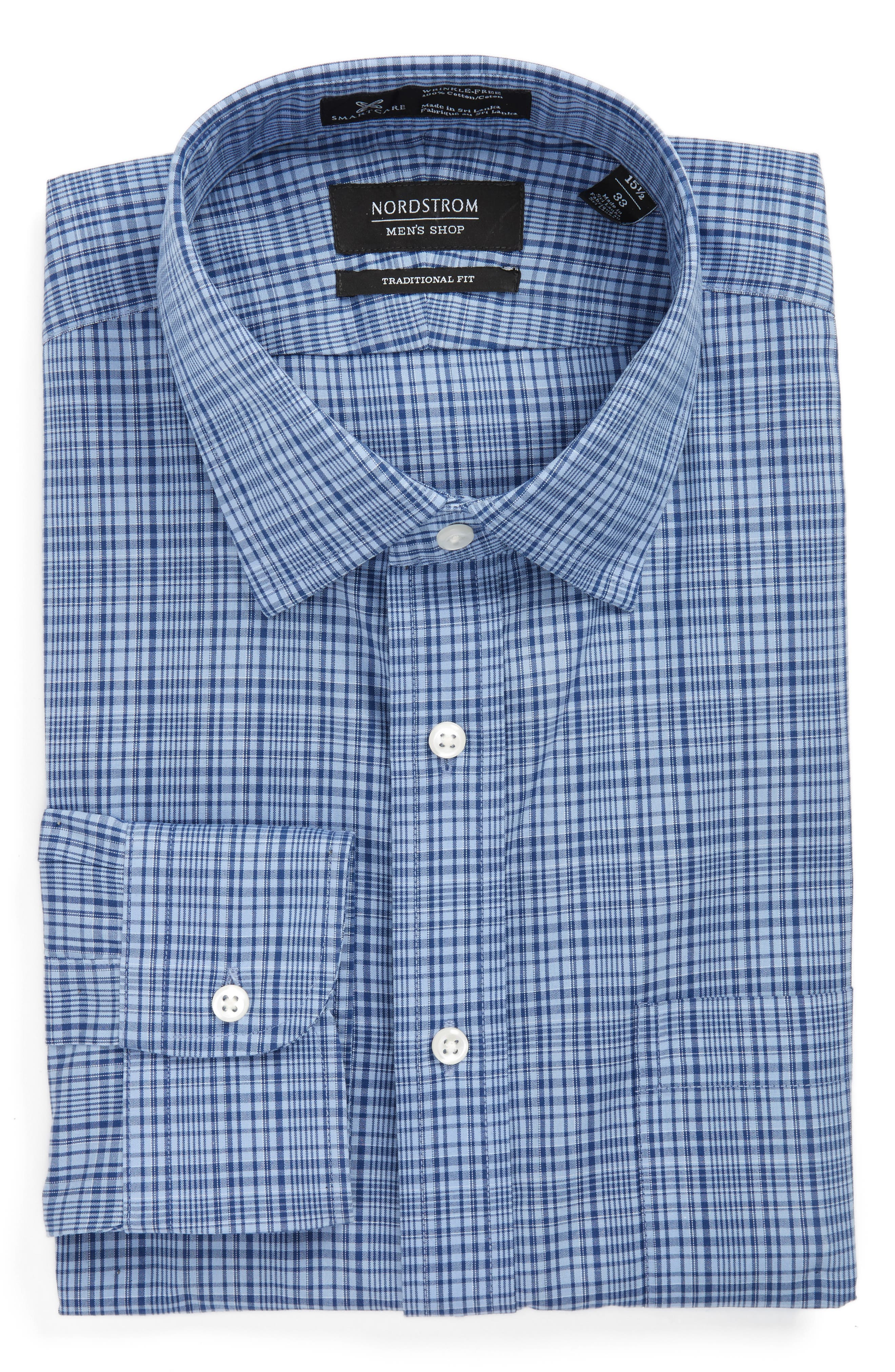 NORDSTROM MENS SHOP Smartcare<sup>™</sup> Traditional Fit Plaid Dress Shirt