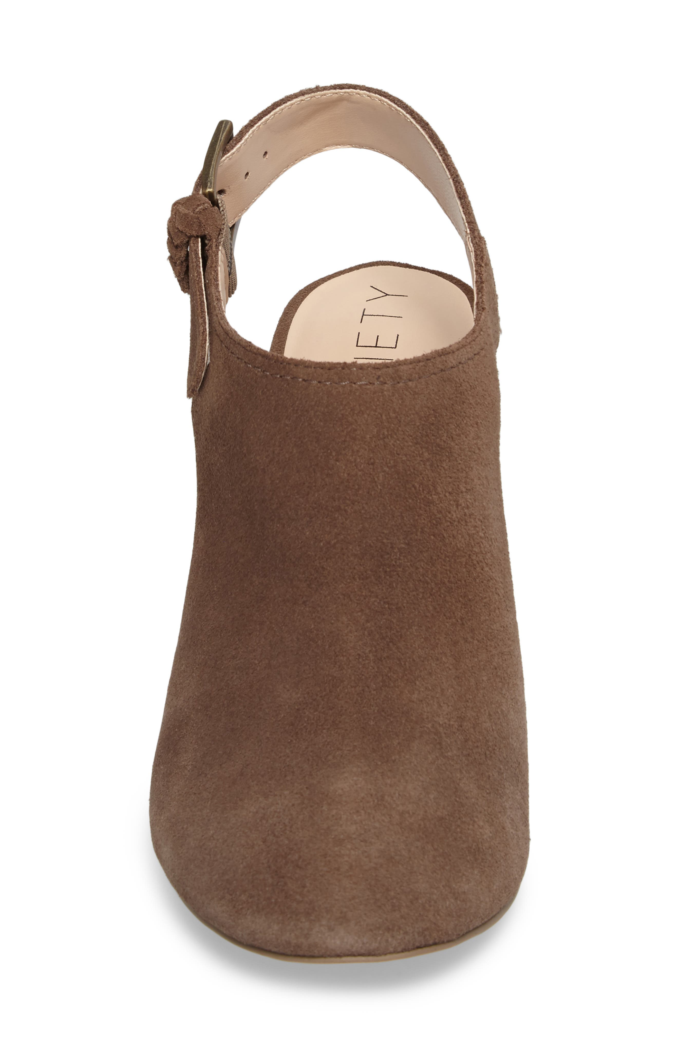 Apollo Slingback Bootie,                             Alternate thumbnail 4, color,                             Dark Taupe Suede Suede