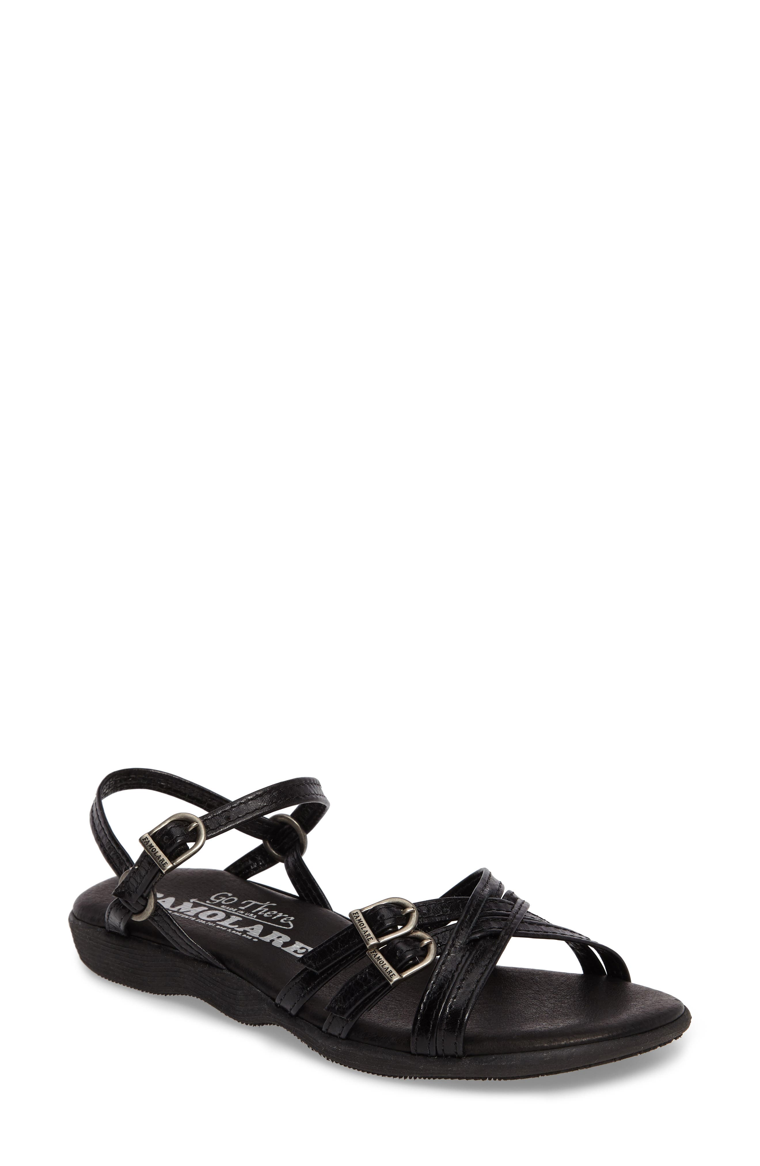 Strapsody Buckle Sandal,                         Main,                         color, Coal Leather