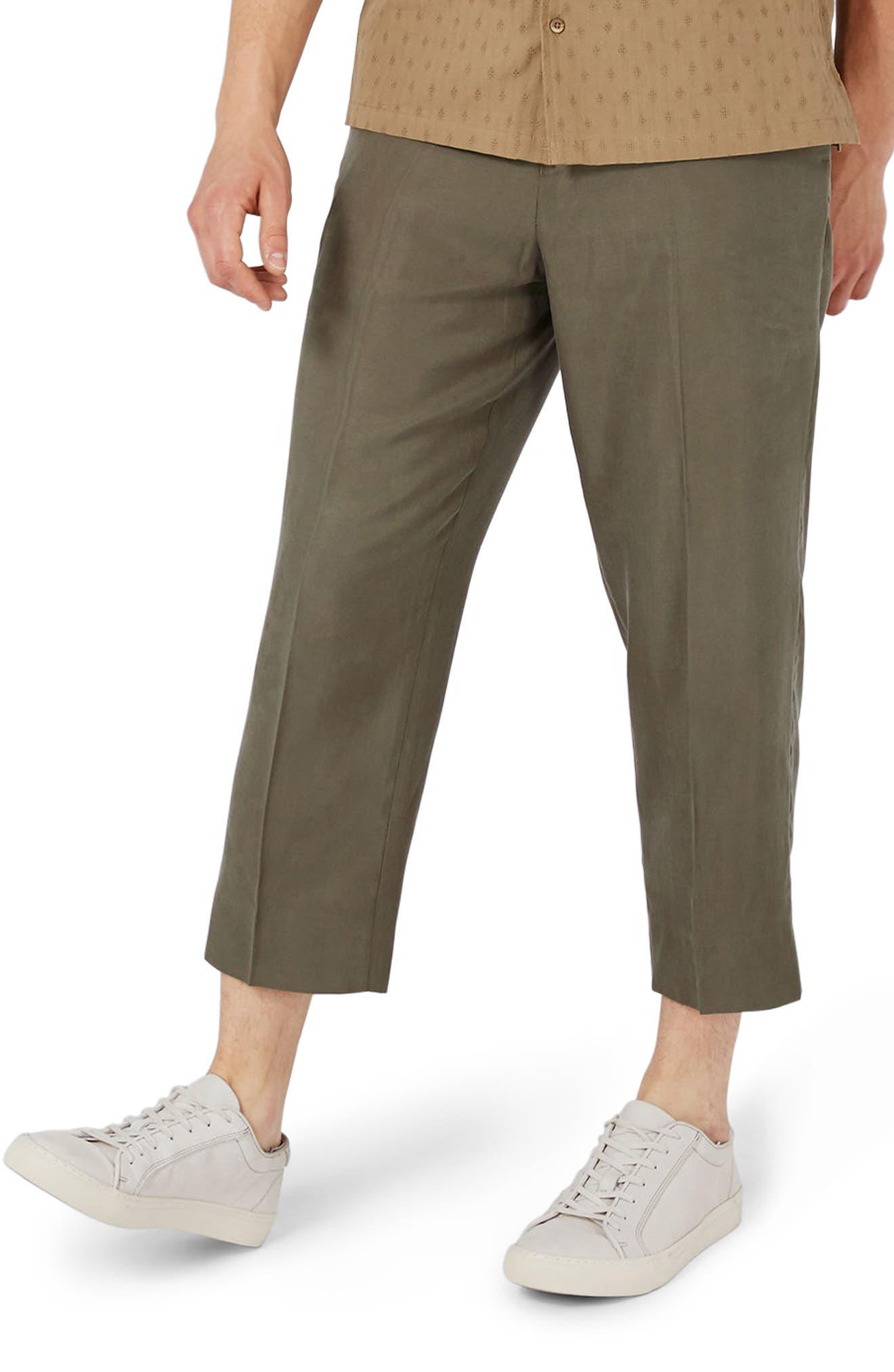Main Image - Topman Crop Wide Leg Trousers